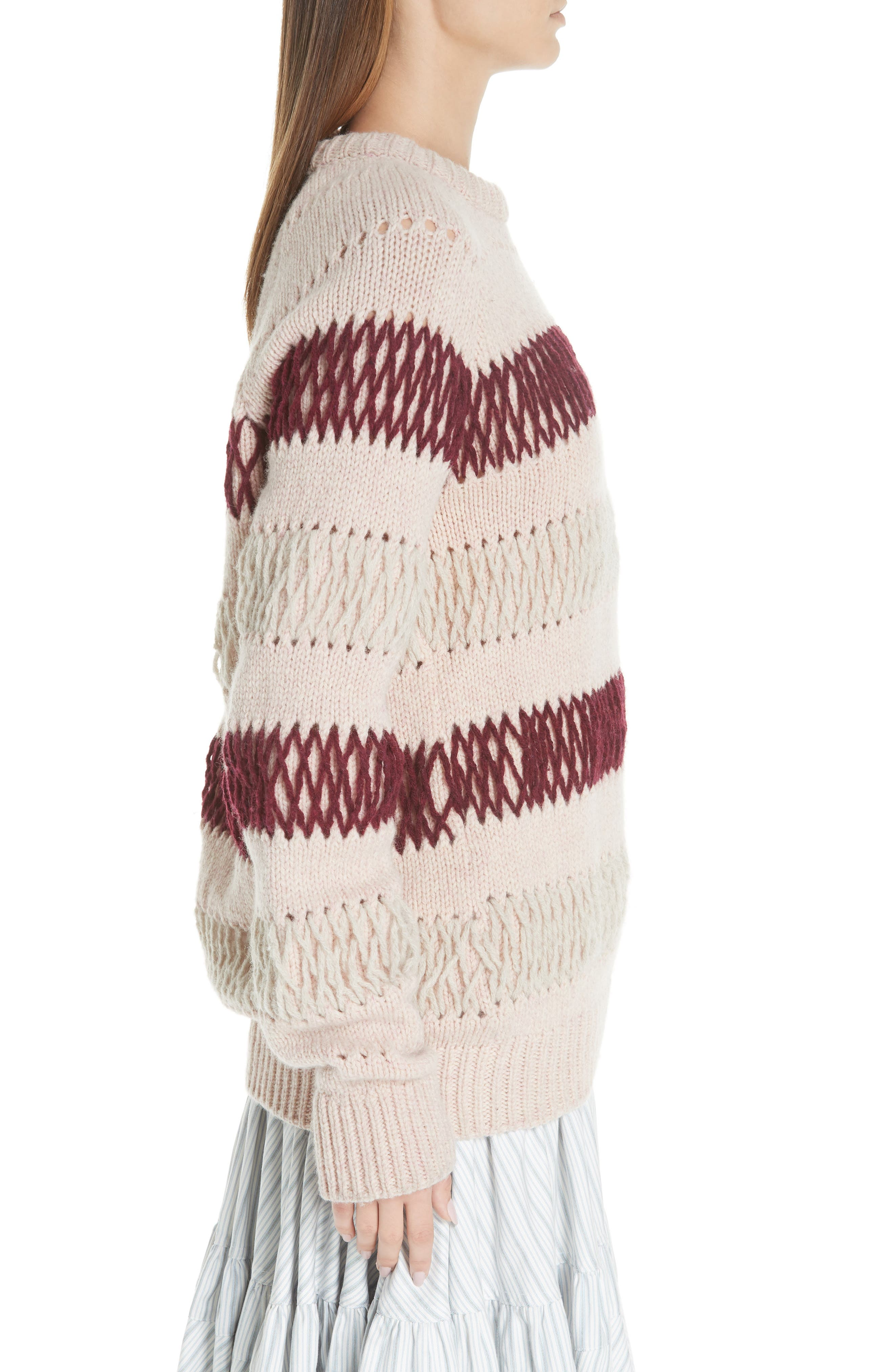 Embroidered Stripe Wool Sweater,                             Alternate thumbnail 3, color,                             PALE PINK BURGUNDY