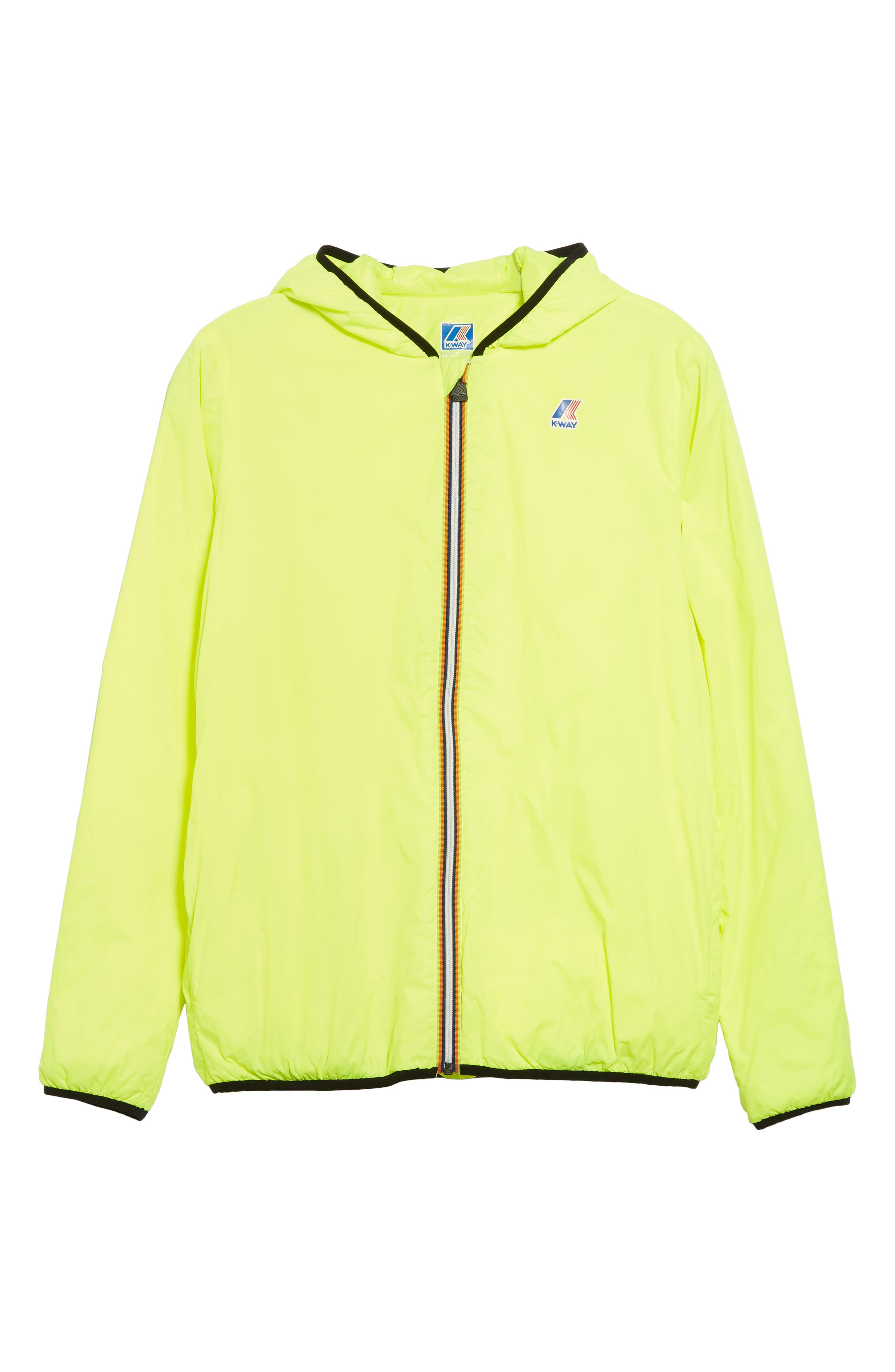 Le Vrai 3.0 Claude Light Warm Water Resistant Hooded Windbreaker, Main, color, YELLOW FLUO