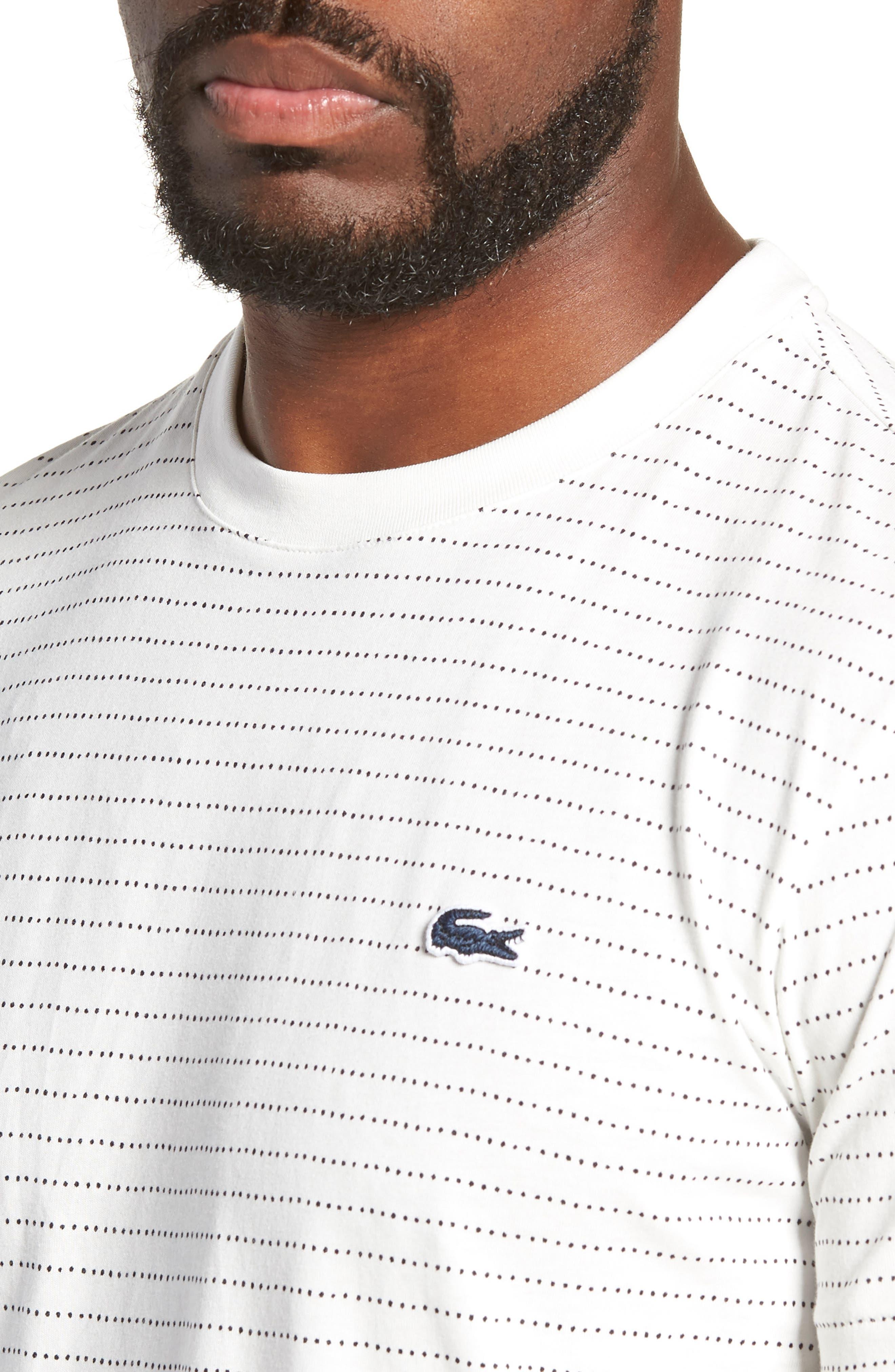 Dotted Stripe T-Shirt,                             Alternate thumbnail 4, color,                             FLOUR/ NAVY BLUE