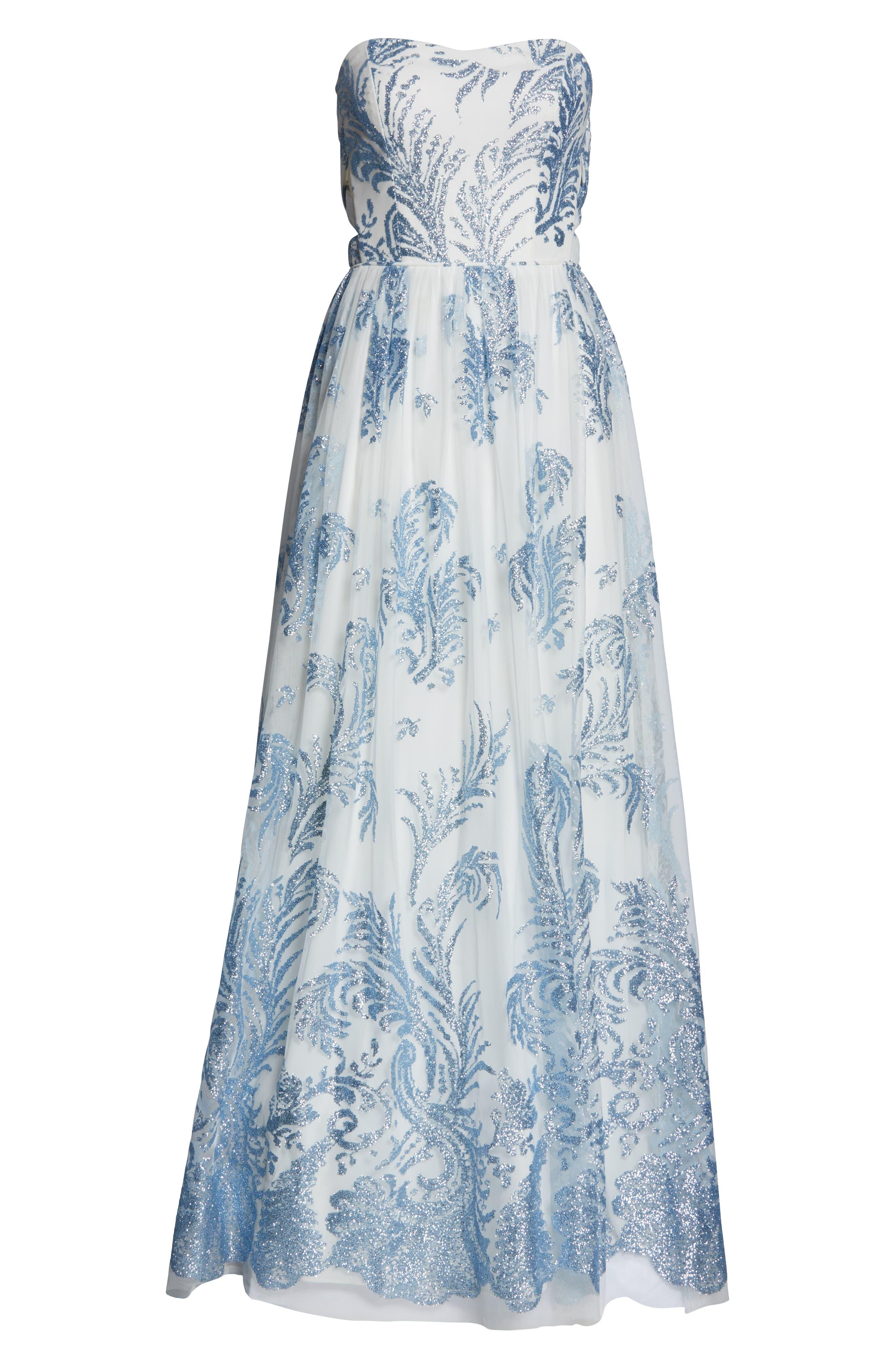 Strapless Glitter Mesh Evening Dress,                             Alternate thumbnail 7, color,                             IVORY/ BLUE