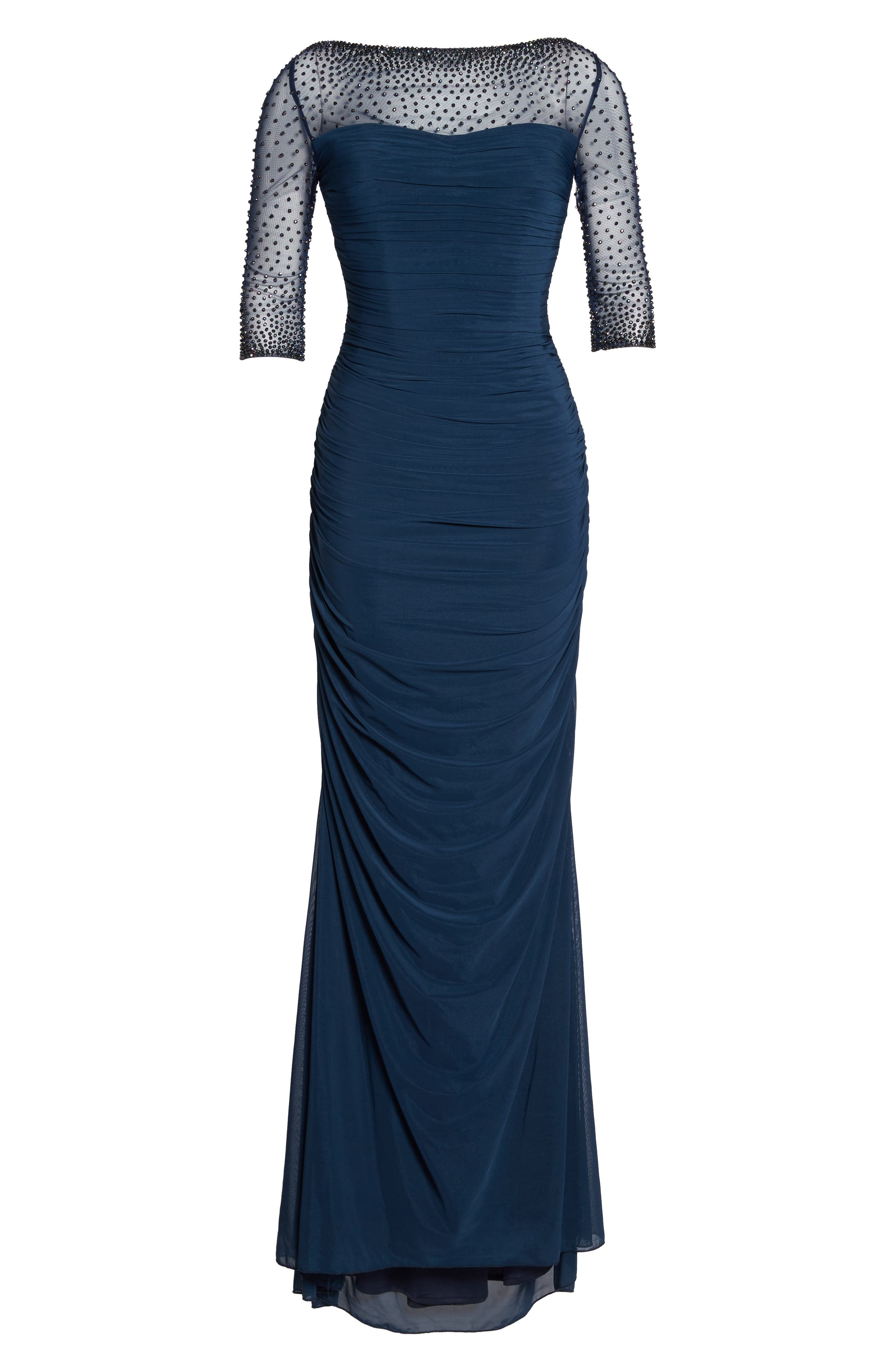Embellished Mesh Ruched Jersey Gown,                             Alternate thumbnail 6, color,                             NAVY