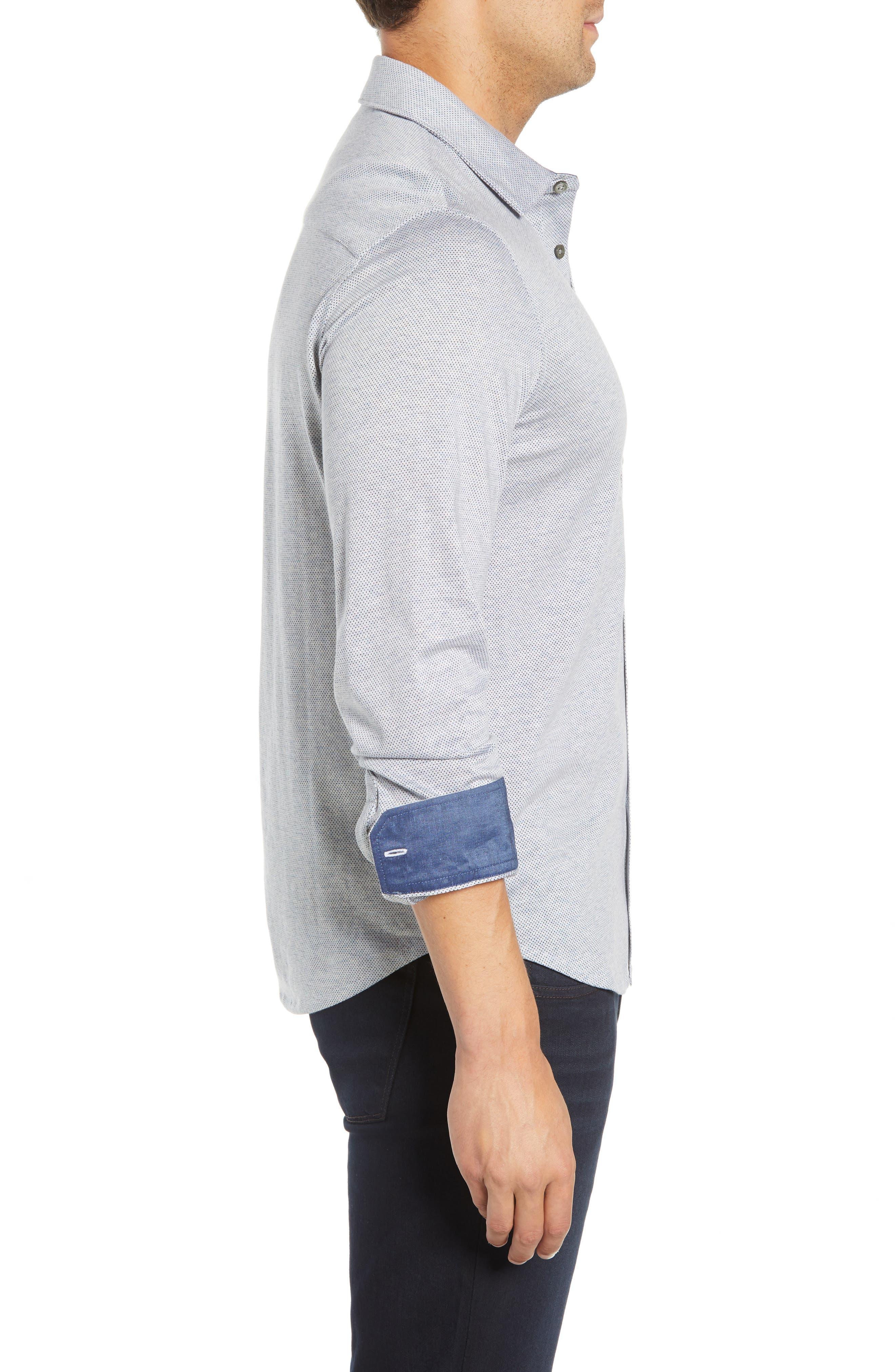 Regular Fit Microdot Knit Sport Shirt,                             Alternate thumbnail 4, color,                             AIR BLUE