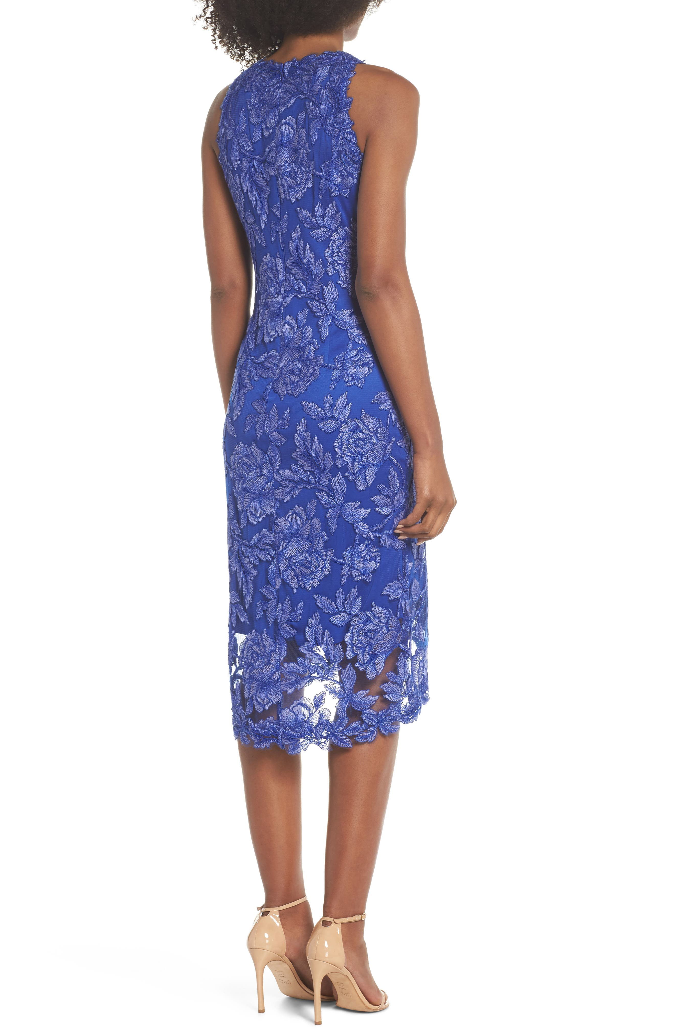 Embroidered Floral Sheath Dress,                             Alternate thumbnail 2, color,                             BLUE LILY