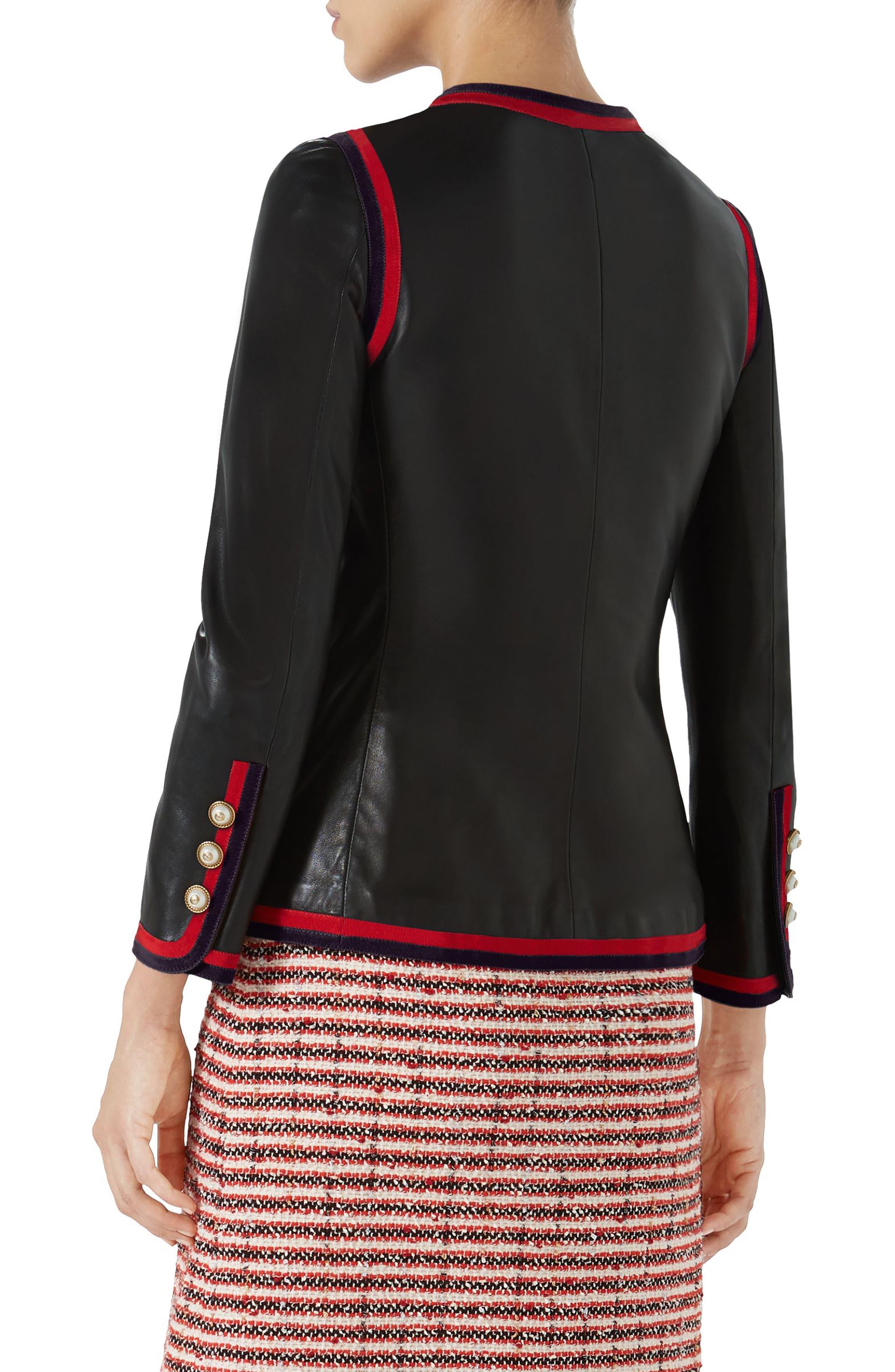 Ribbon Trim Nappa Leather Jacket,                             Alternate thumbnail 2, color,                             BLACK