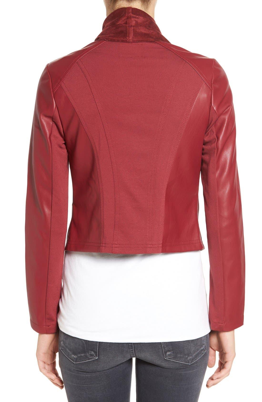 'Ana' Faux Leather Drape Front Jacket,                             Alternate thumbnail 7, color,