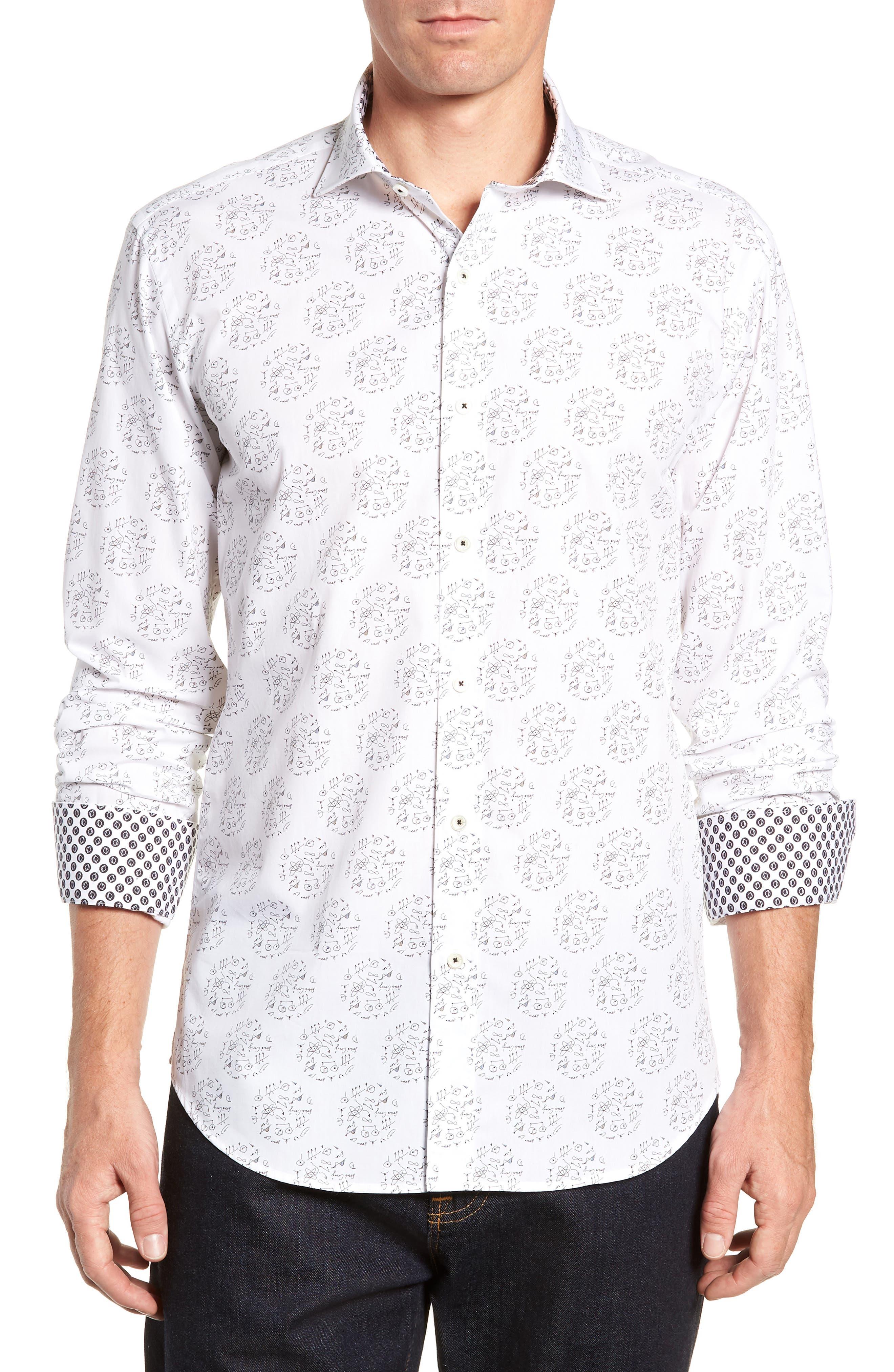 Shaped Fit Sport Shirt,                         Main,                         color, SNOW