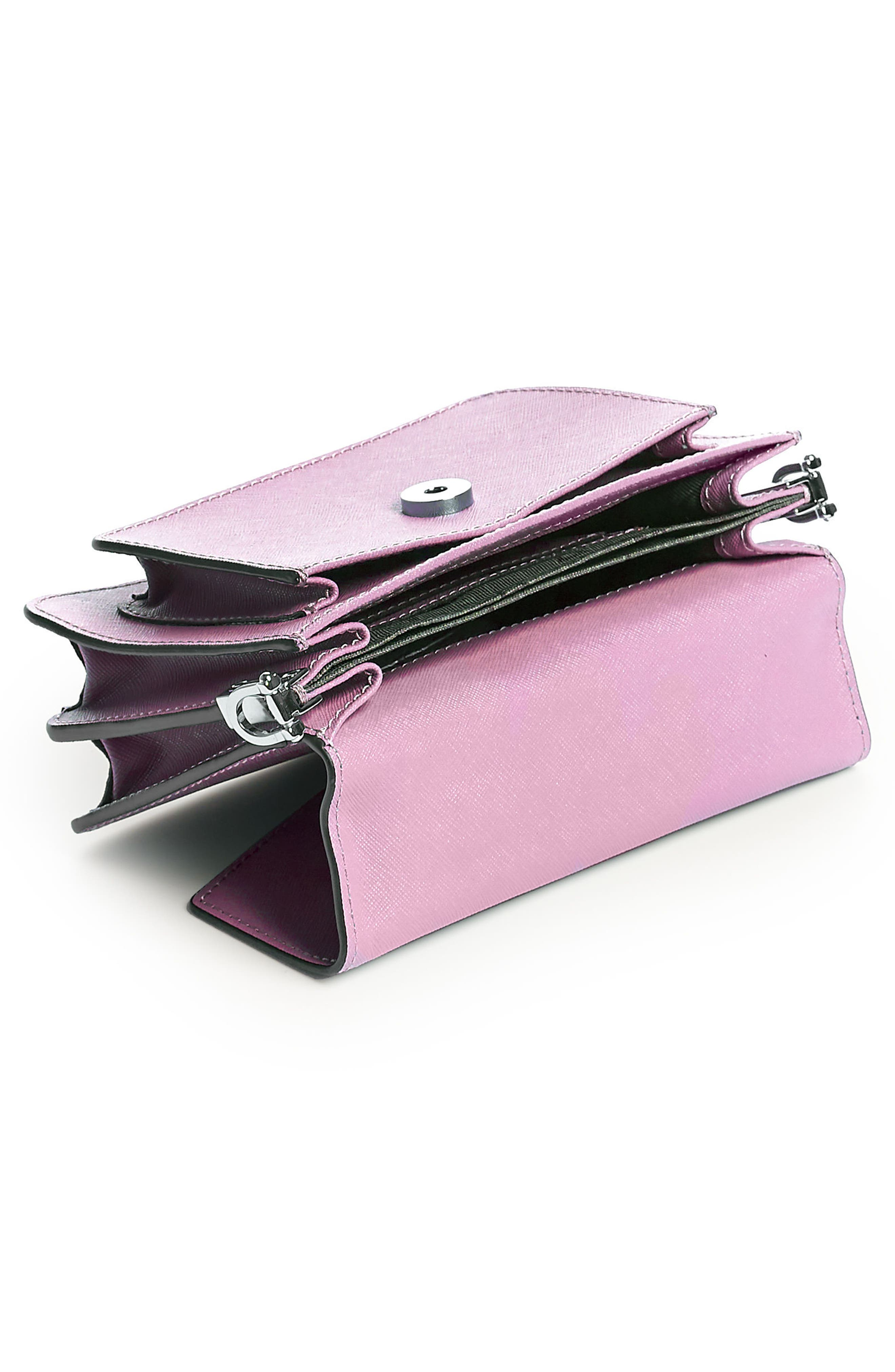Mini Cobble Hill Calfskin Leather Crossbody Bag,                             Alternate thumbnail 4, color,                             LILAC