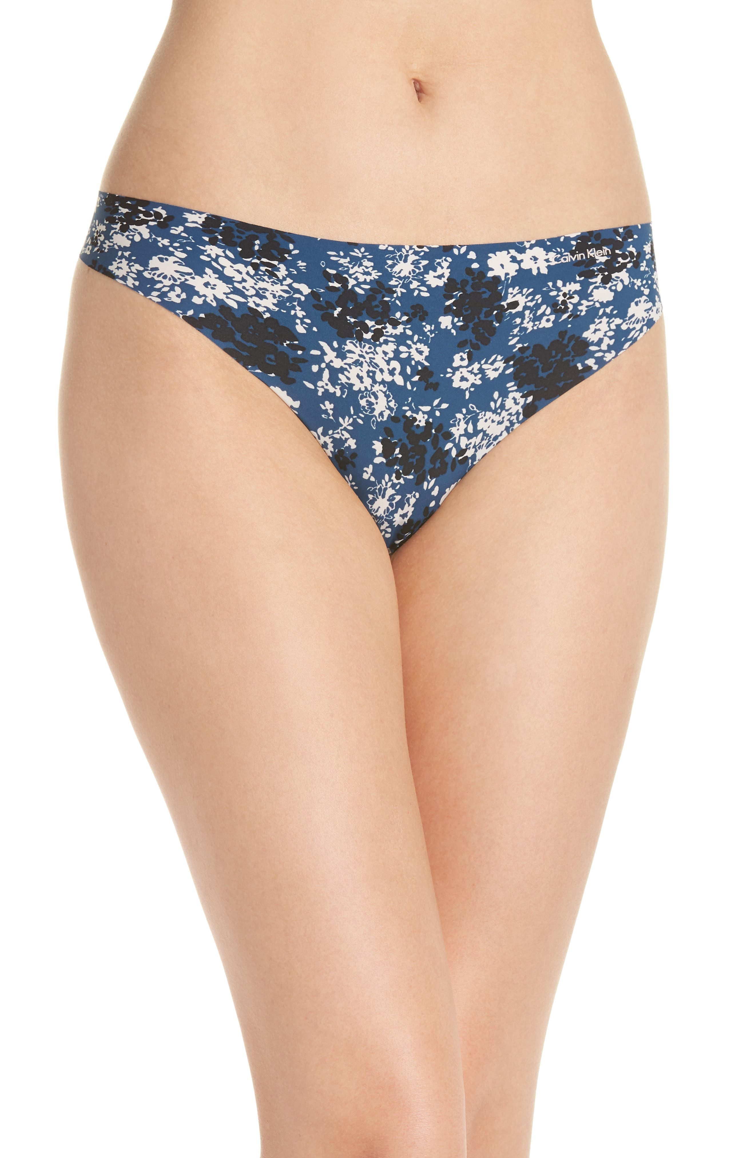 Invisibles Thong,                             Main thumbnail 1, color,                             SIMPLE FLORAL/ LYRIA BLUE