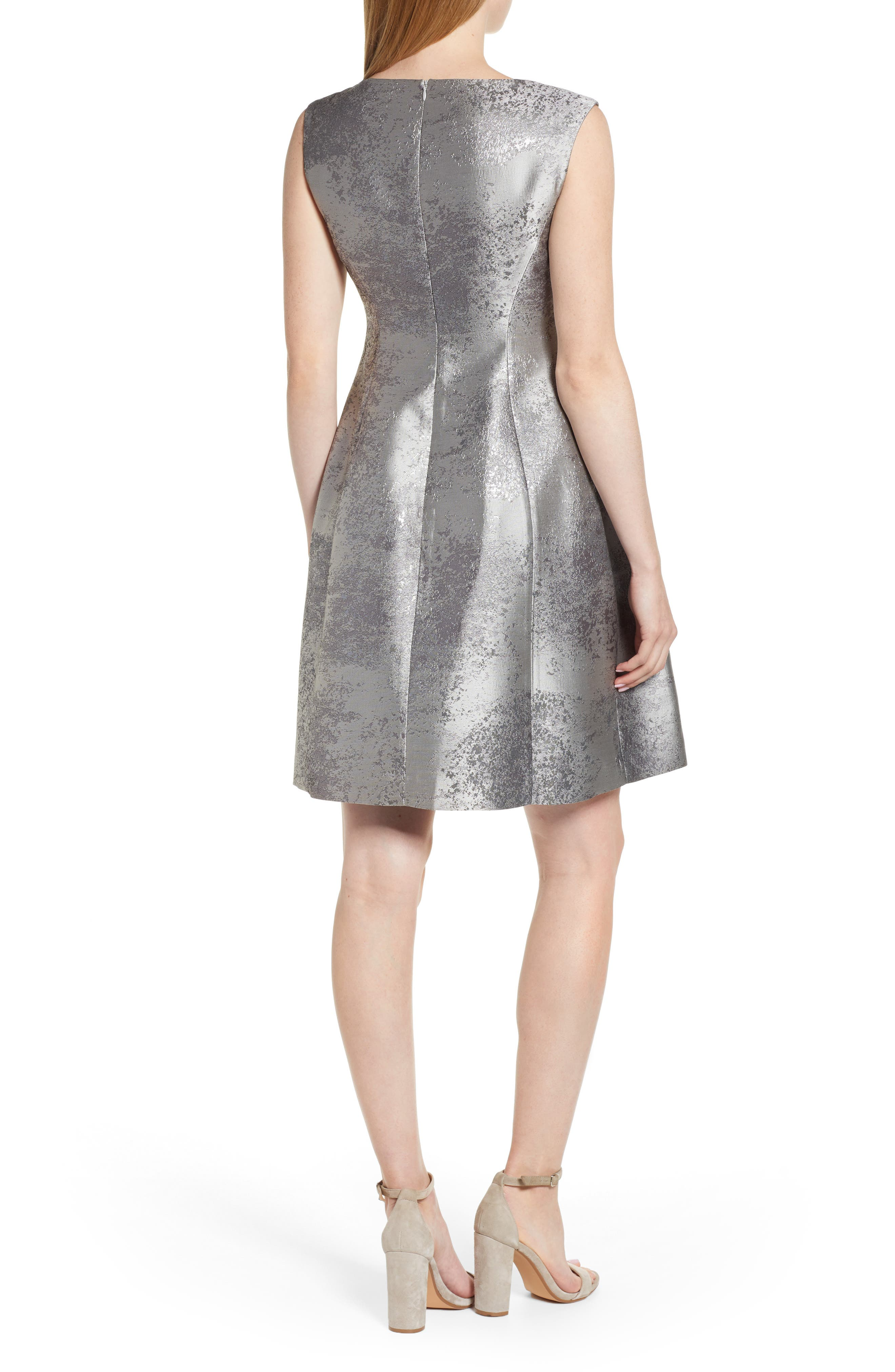ANNE KLEIN,                             Satin Jacquard Fit & Flare Dress,                             Alternate thumbnail 2, color,                             SILVER COMBO