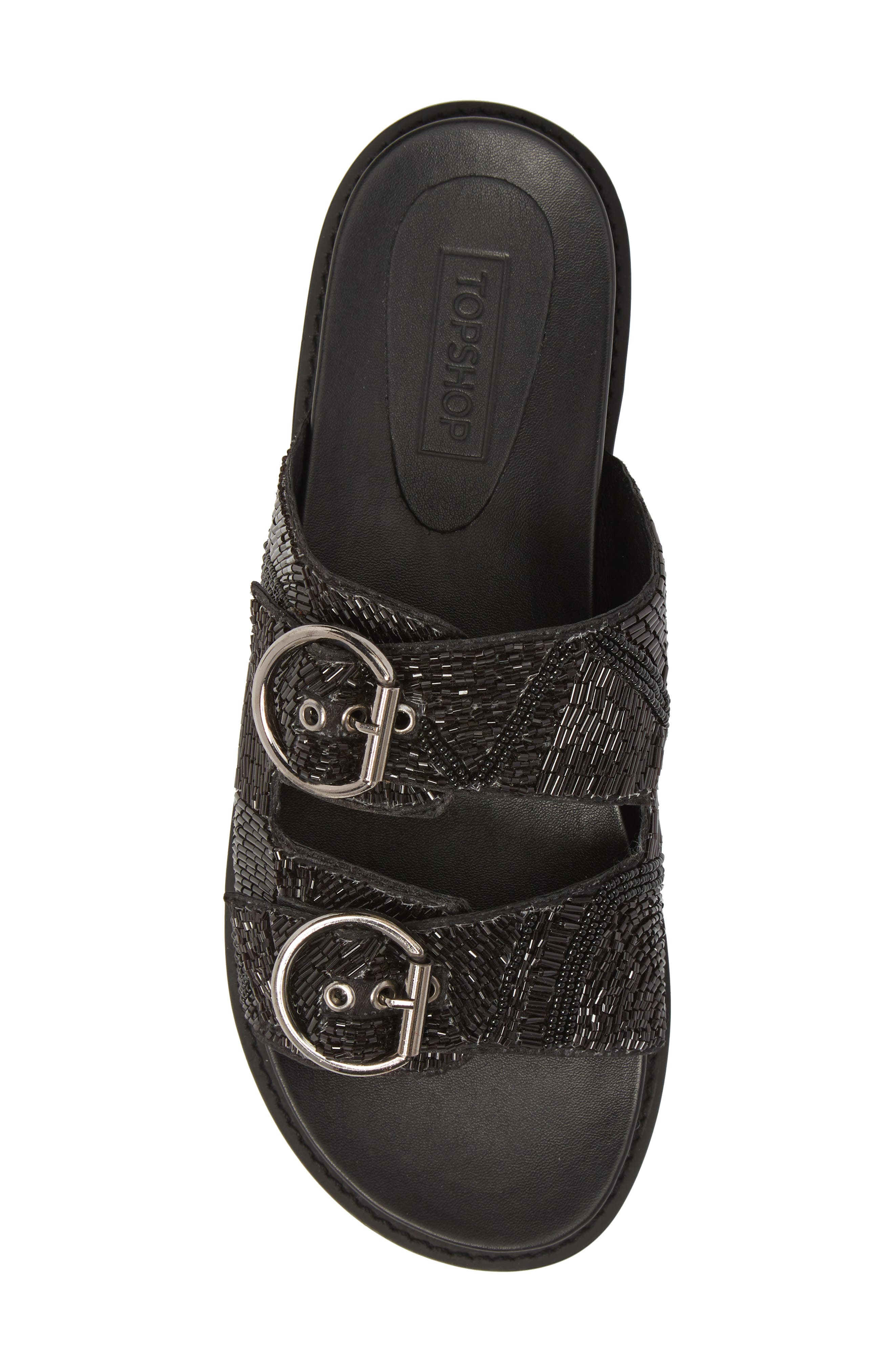 Frankie Embellished Slide Sandal,                             Alternate thumbnail 5, color,                             001