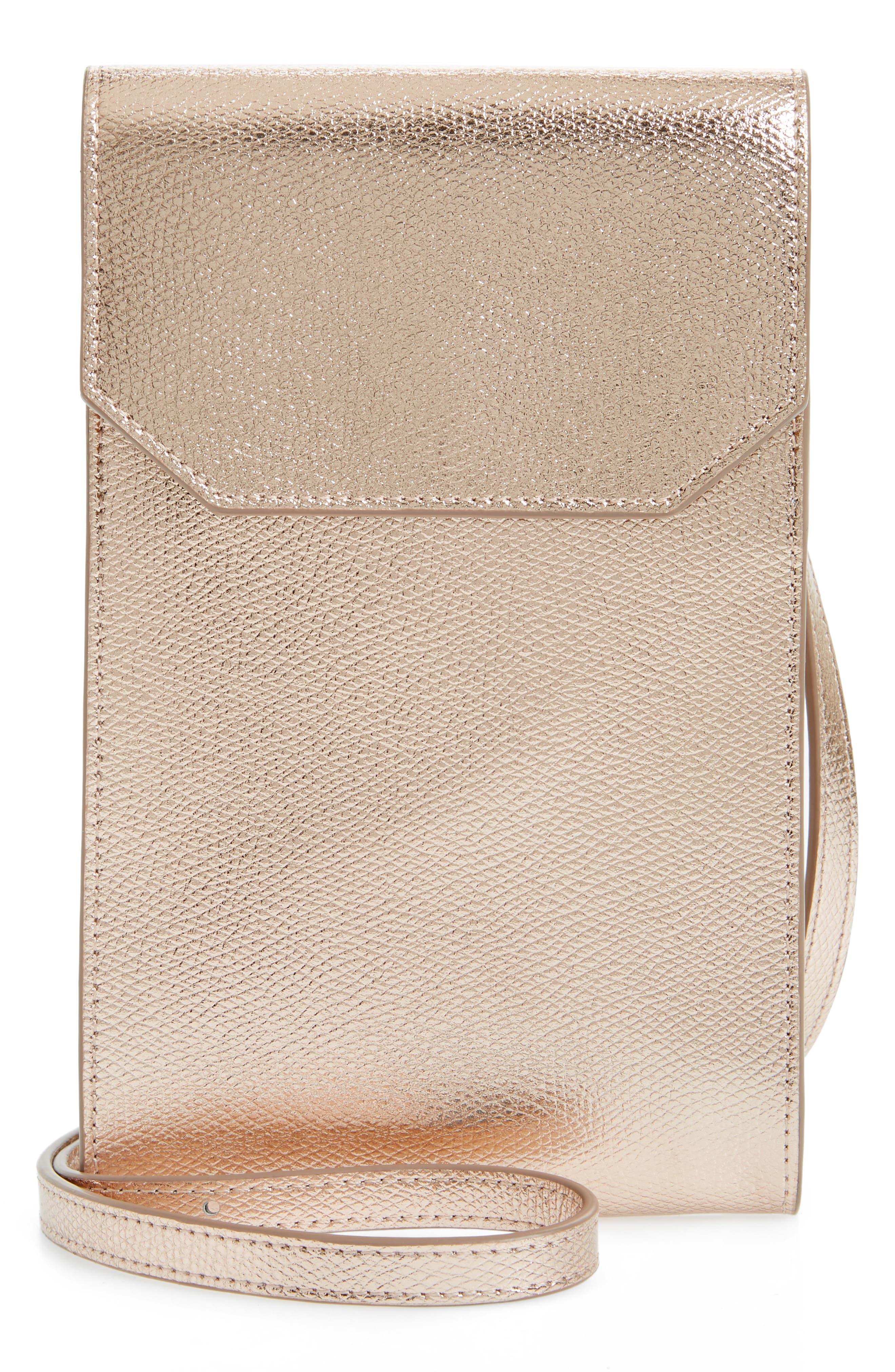 Metallic Leather Phone Crossbody Bag,                         Main,                         color, 220
