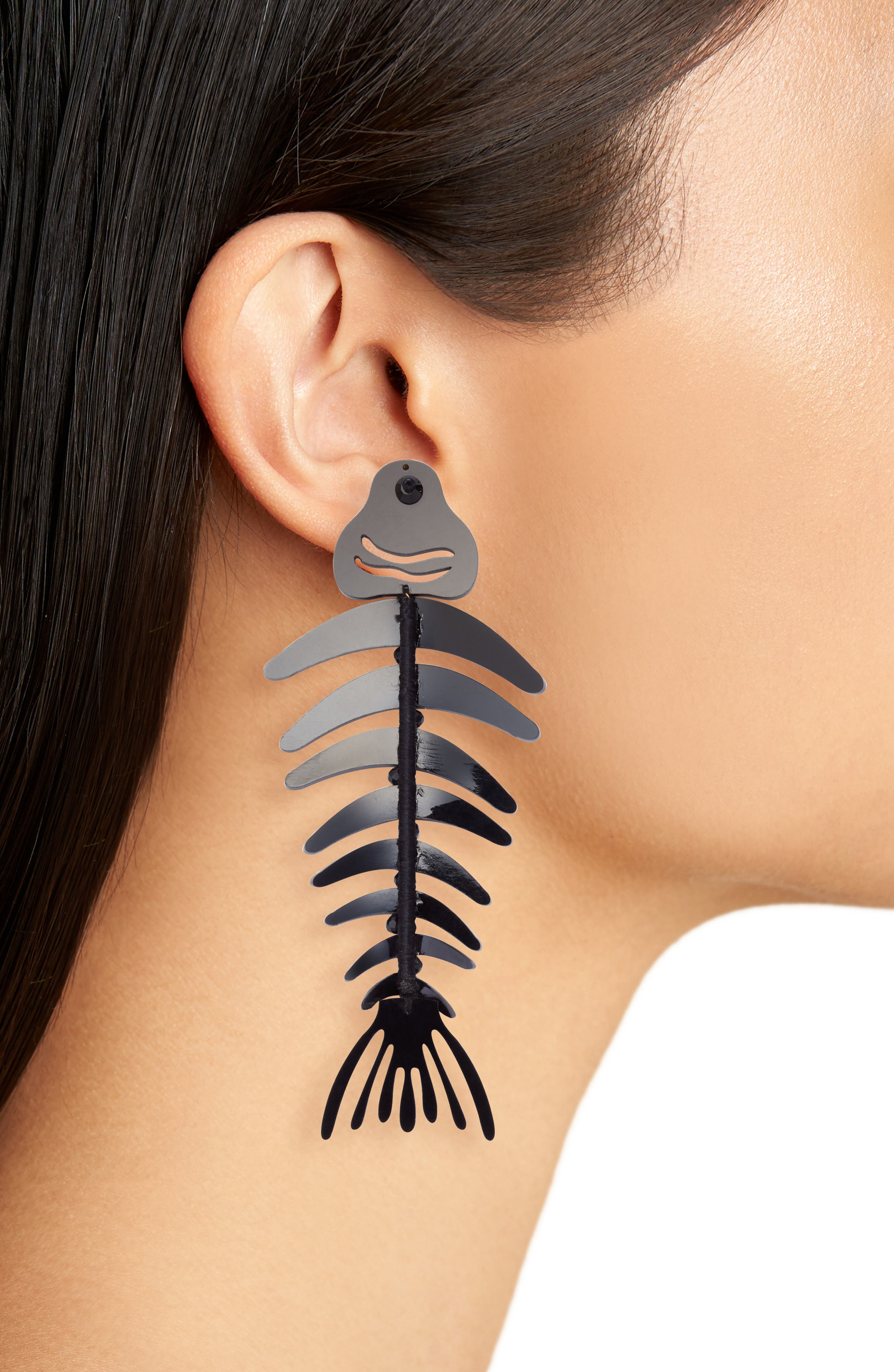 Bold Fish Drop Earrings,                             Alternate thumbnail 2, color,                             BLACK