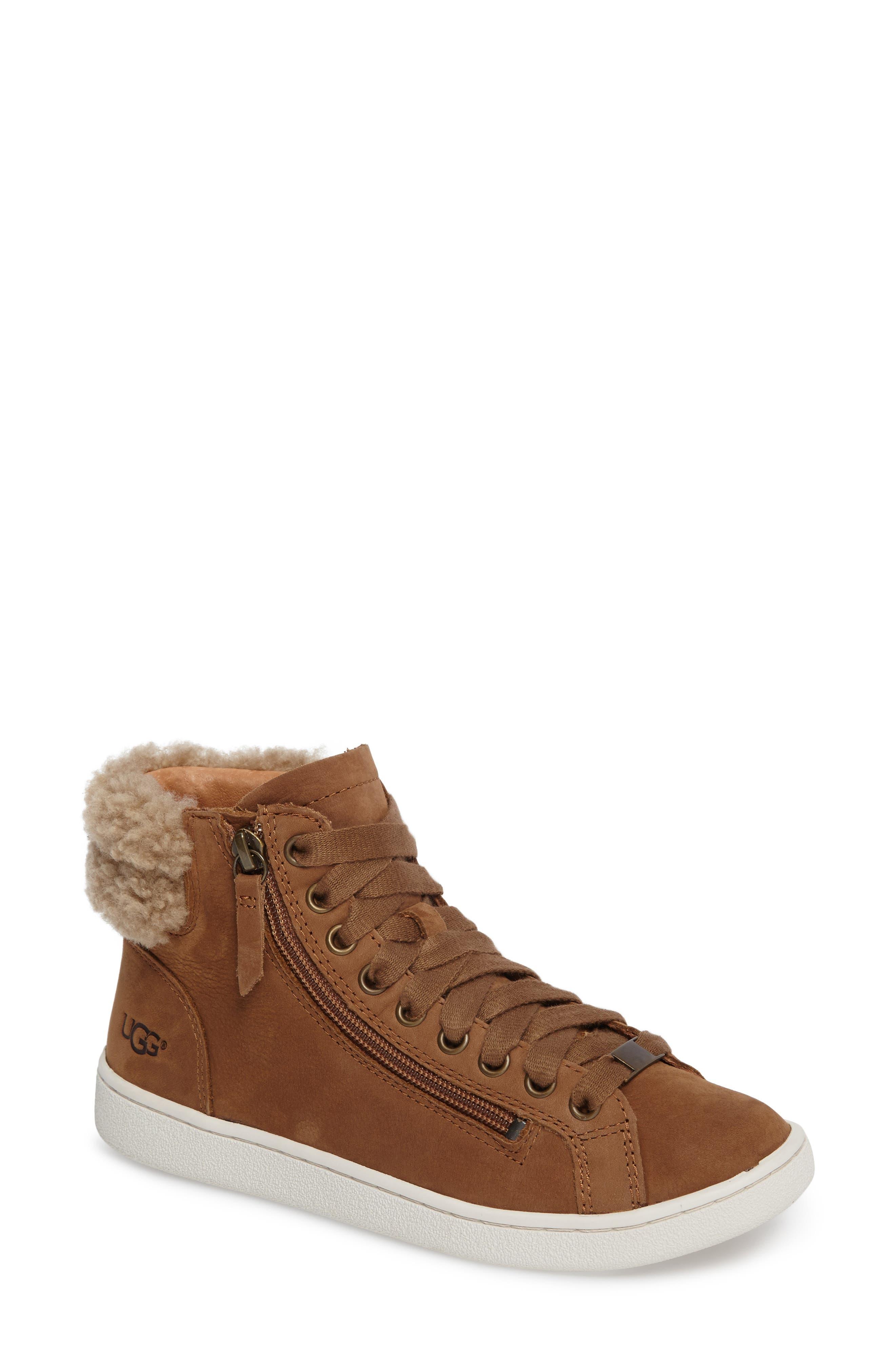 Olive Genuine Shearling Cuff Sneaker,                         Main,                         color, 219