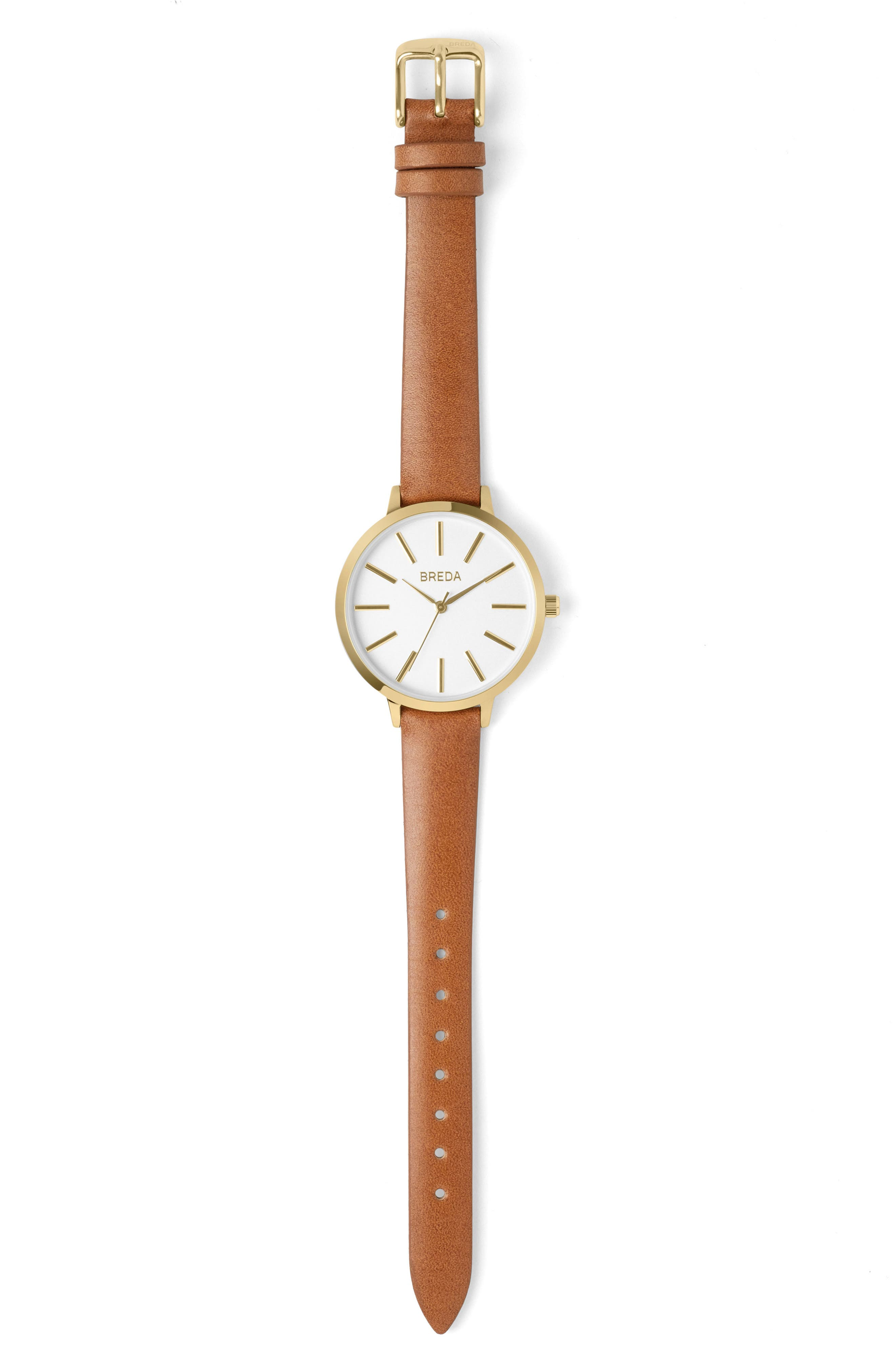 Joule Round Leather Strap Watch, 37mm,                         Main,                         color, BROWN/ WHITE GOLD