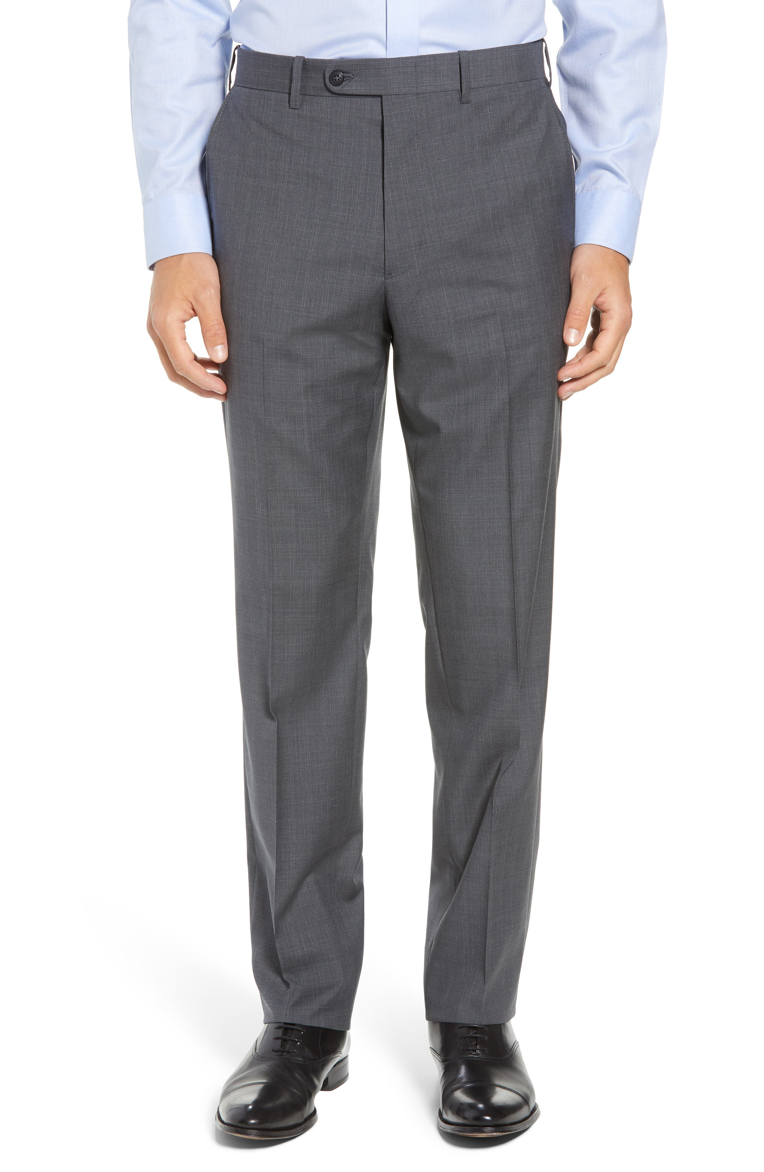 Torino Traditional Fit Flat Front Plaid Wool Trousers,                         Main,                         color, GREY