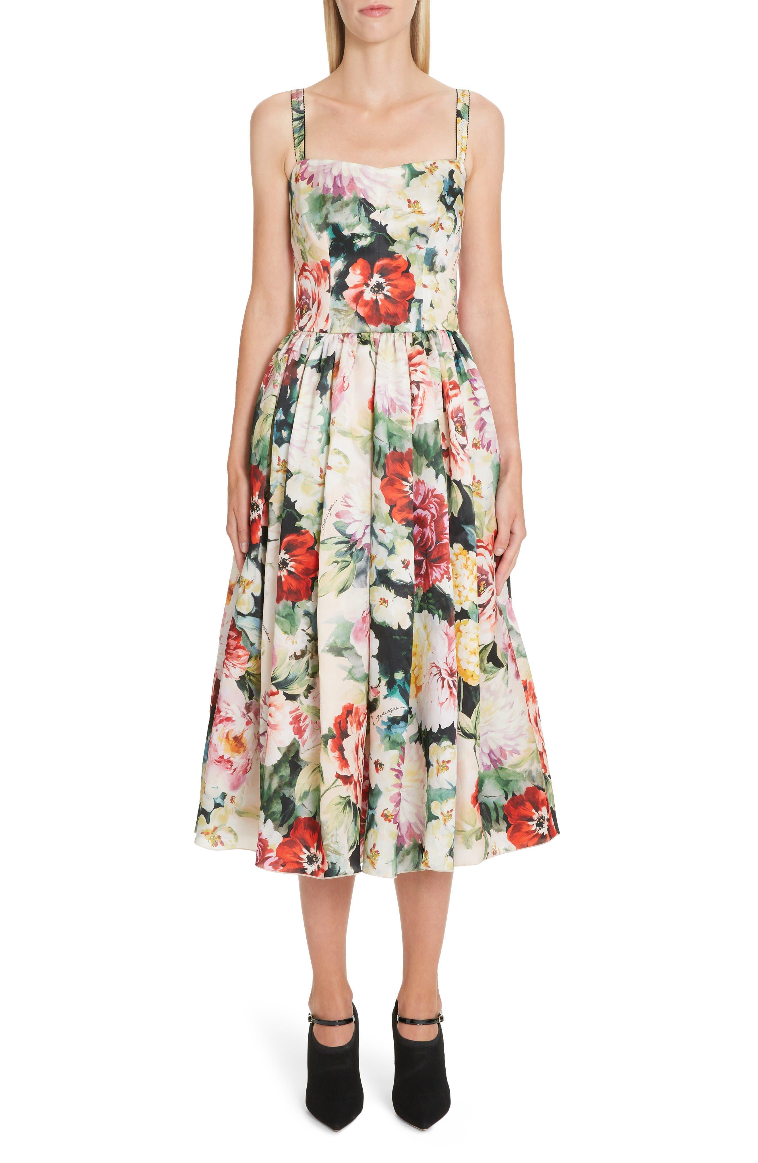 Dolce & gabbana Floral Print Silk Organza Fit & Flare Dress, US / 40 IT - Pink