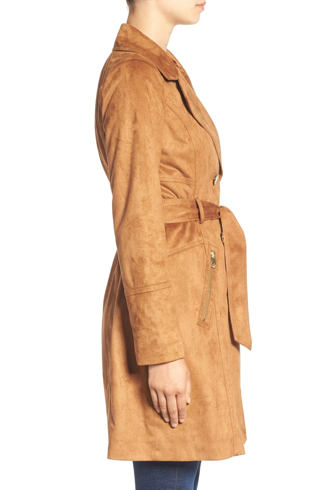 Faux Suede Double Breasted Trench Coat,                             Alternate thumbnail 3, color,                             240