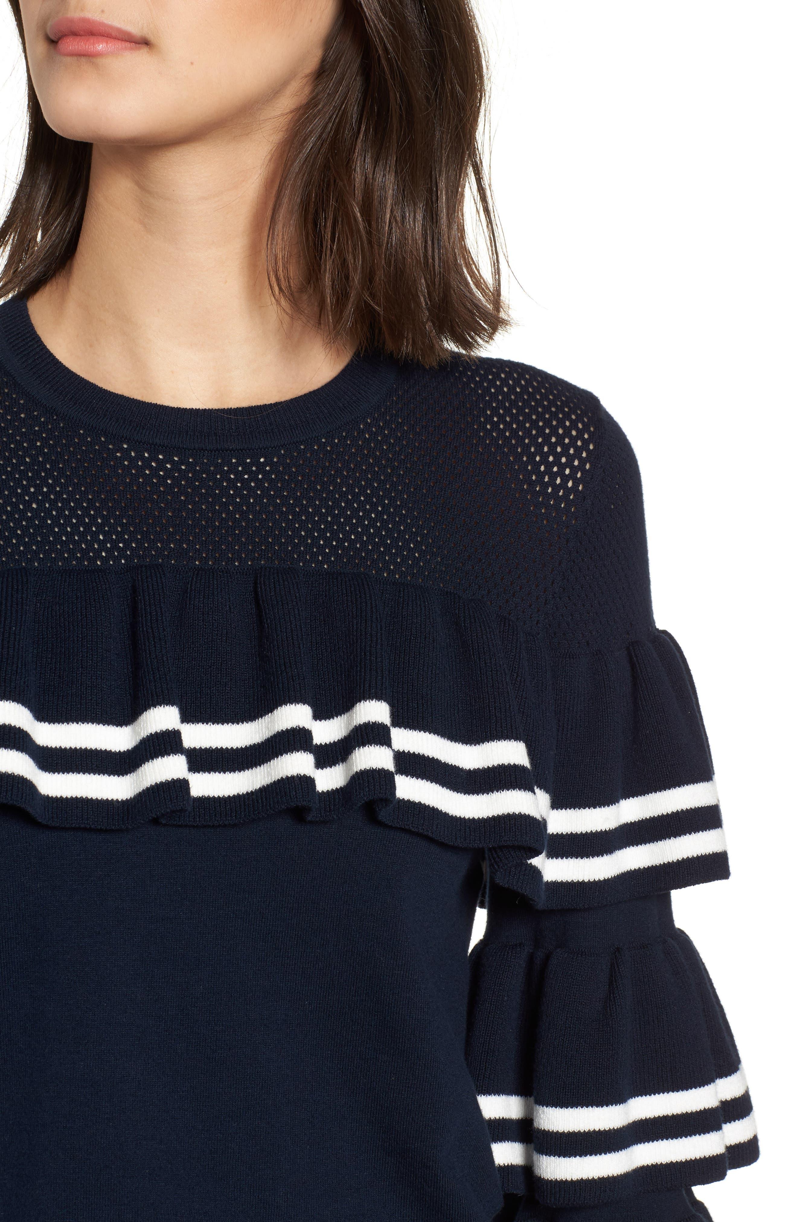 Rhonda Tiered Sleeve Sweater,                             Alternate thumbnail 4, color,