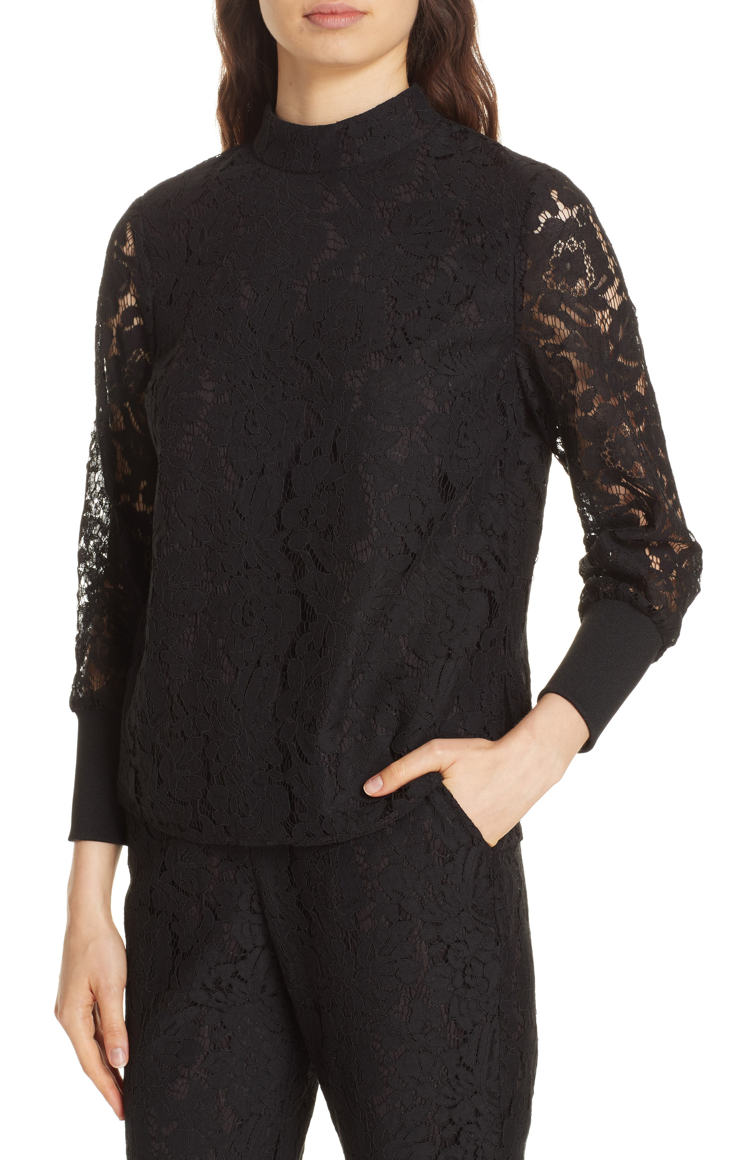 Dilly Lace High Neck Blouse,                             Alternate thumbnail 4, color,                             BLACK