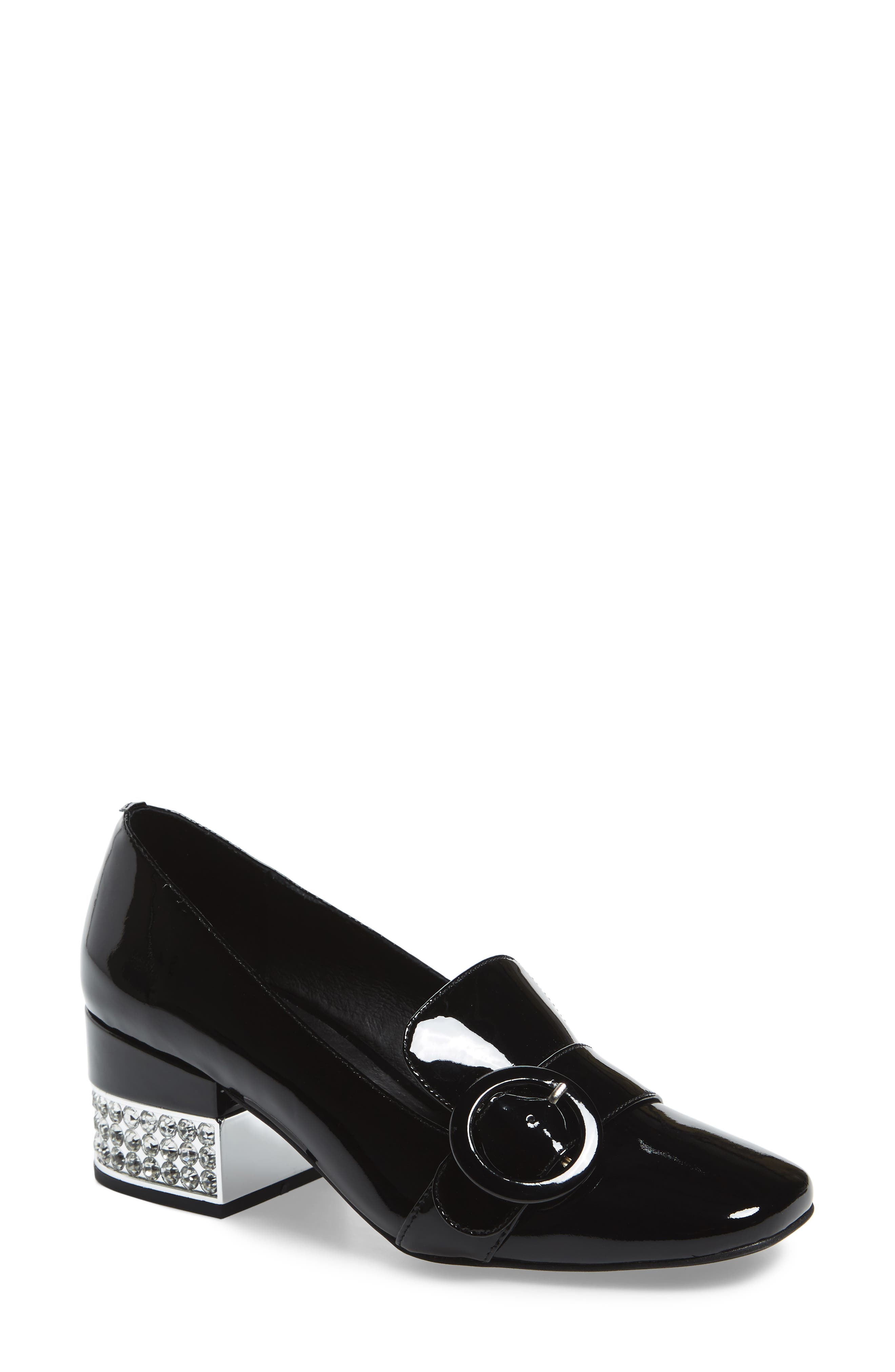Louisa Pump,                             Main thumbnail 1, color,                             BLACK/ SILVER PATENT LEATHER