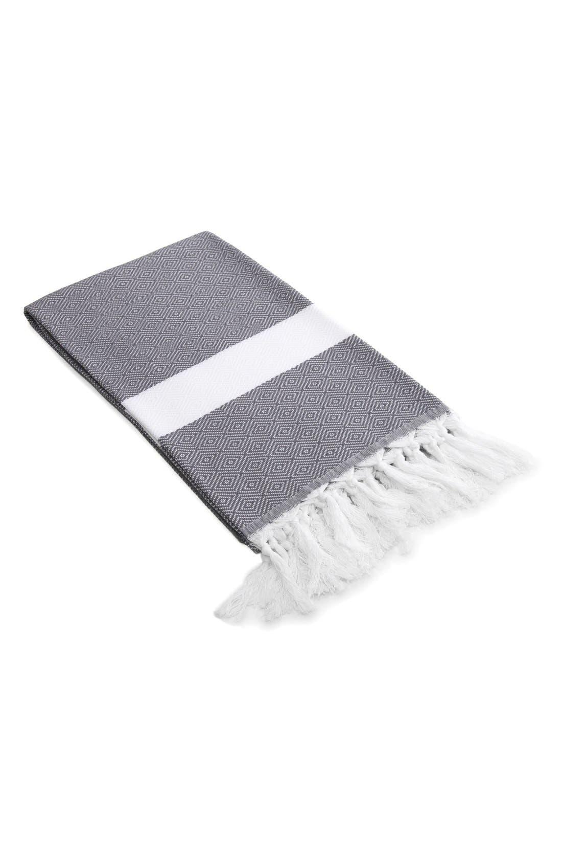 'Diamond' Turkish Pestemal Towel,                             Main thumbnail 1, color,                             GREY