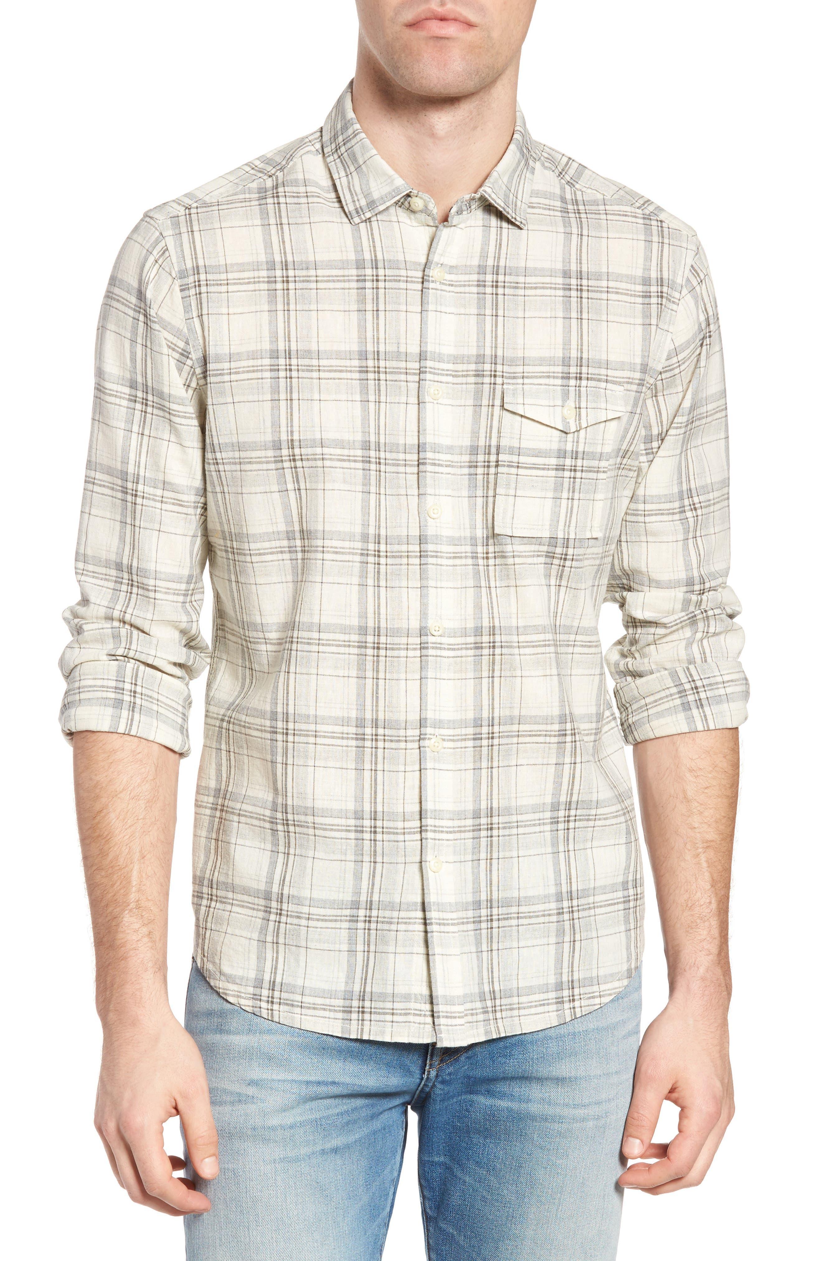 Henri Regular Fit Plaid Cotton & Linen Sport Shirt,                         Main,                         color, 280