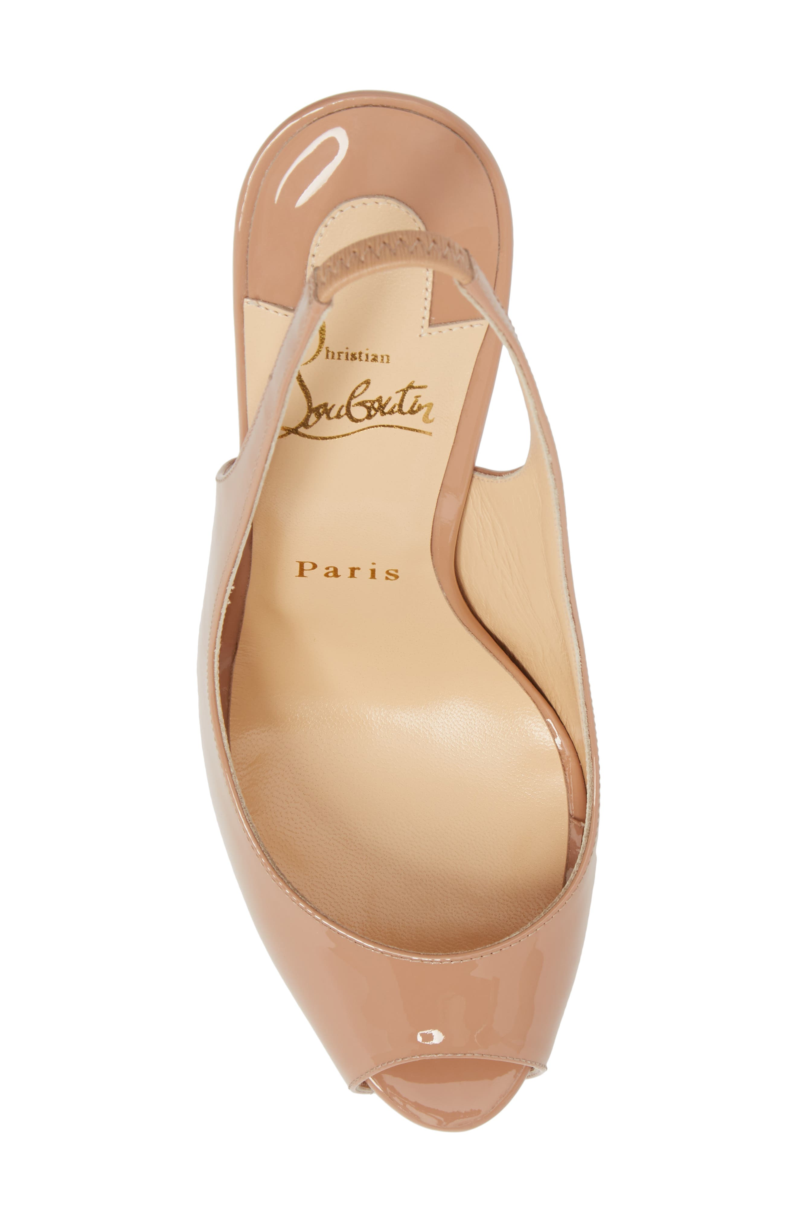 CHRISTIAN LOUBOUTIN,                             Private Number Peep Toe Pump,                             Alternate thumbnail 5, color,                             NUDE