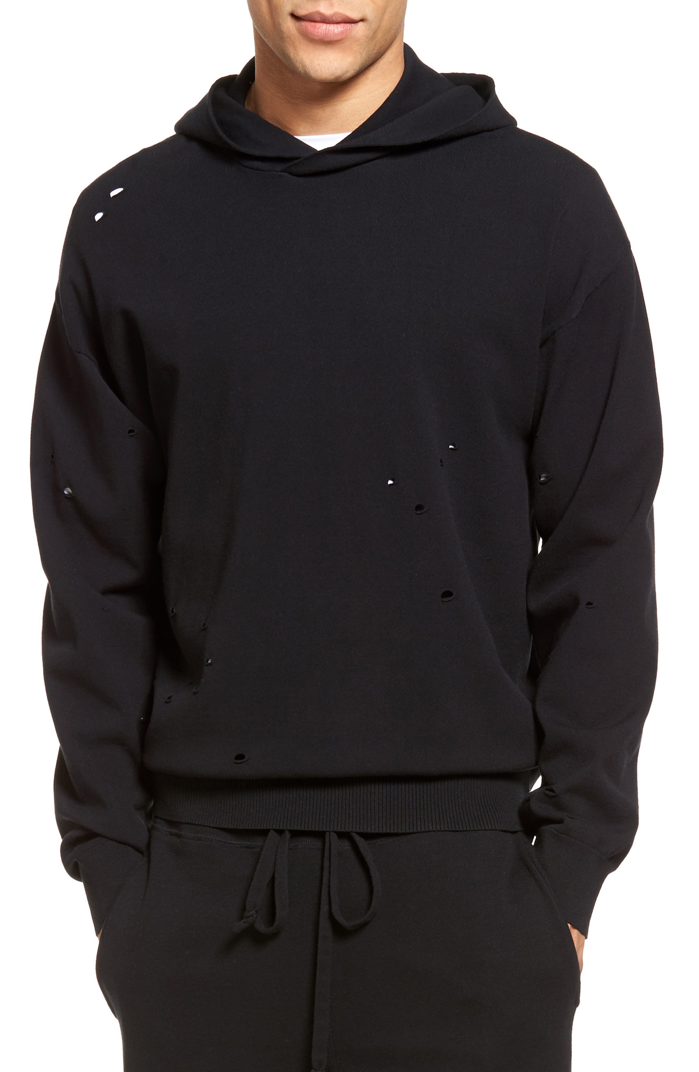 Distressed Pullover Hoodie,                         Main,                         color,