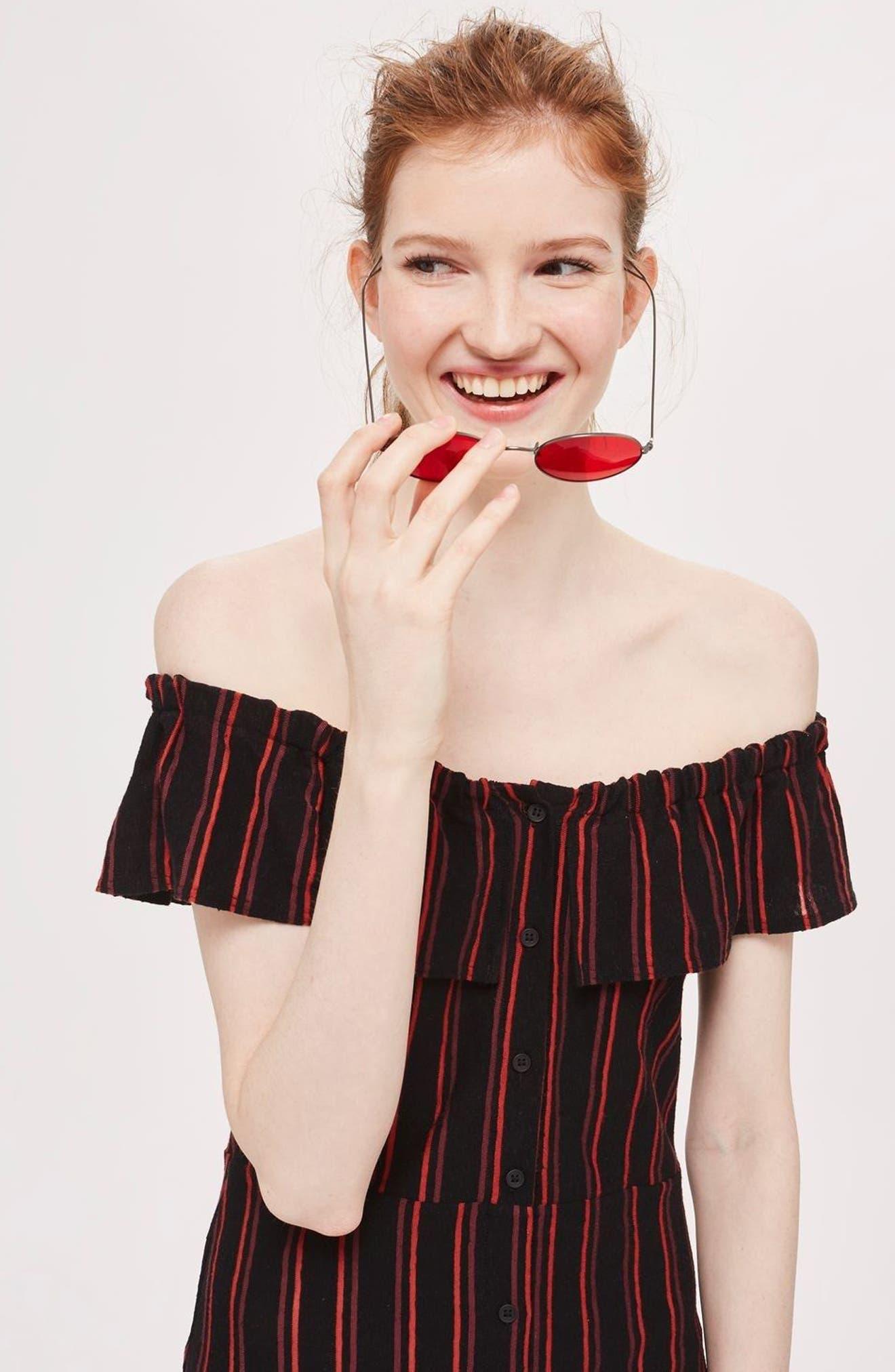Stripe Frill Bardot Dress,                             Alternate thumbnail 4, color,                             002