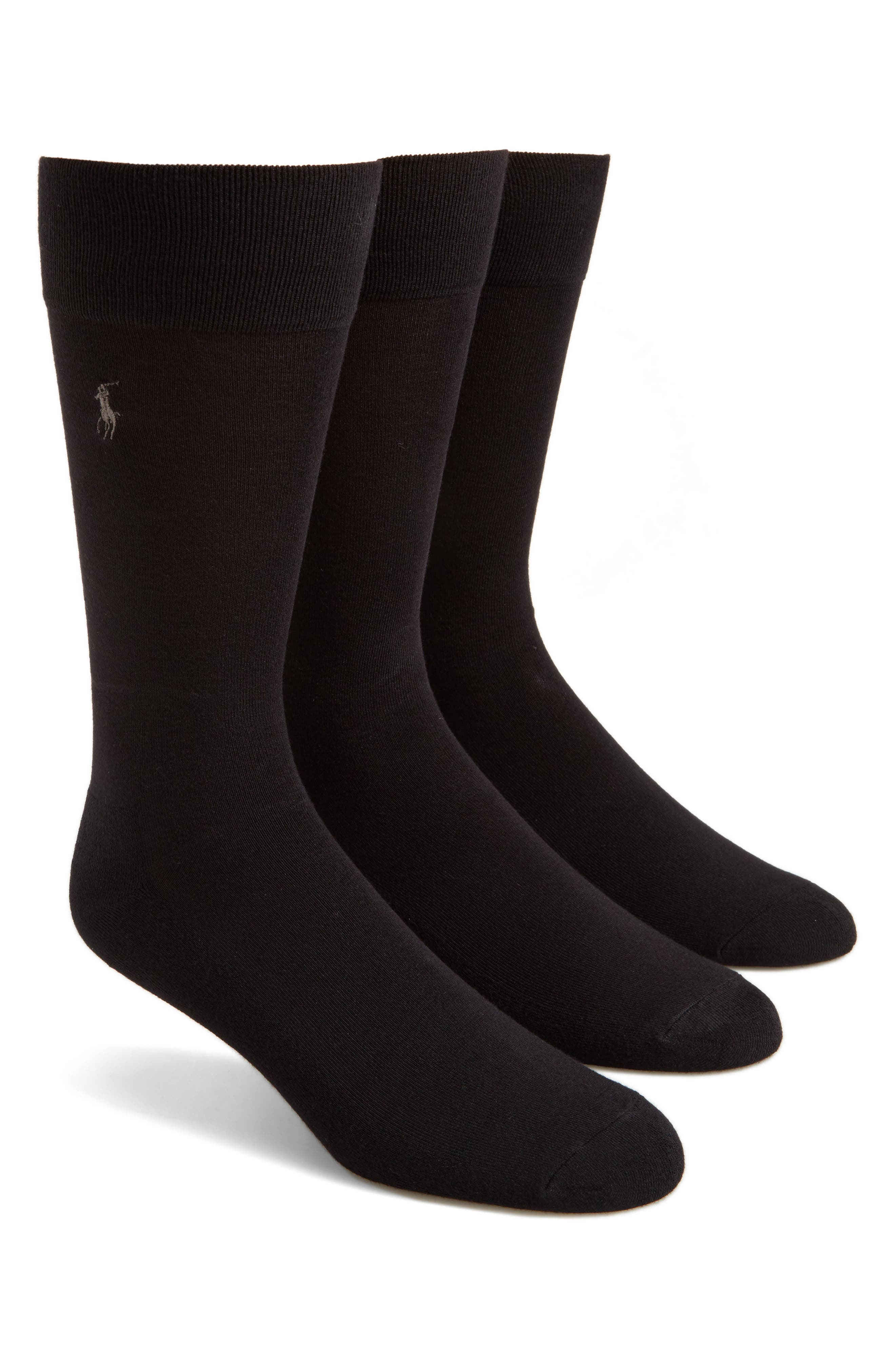 3-Pack Socks,                         Main,                         color, BLACK