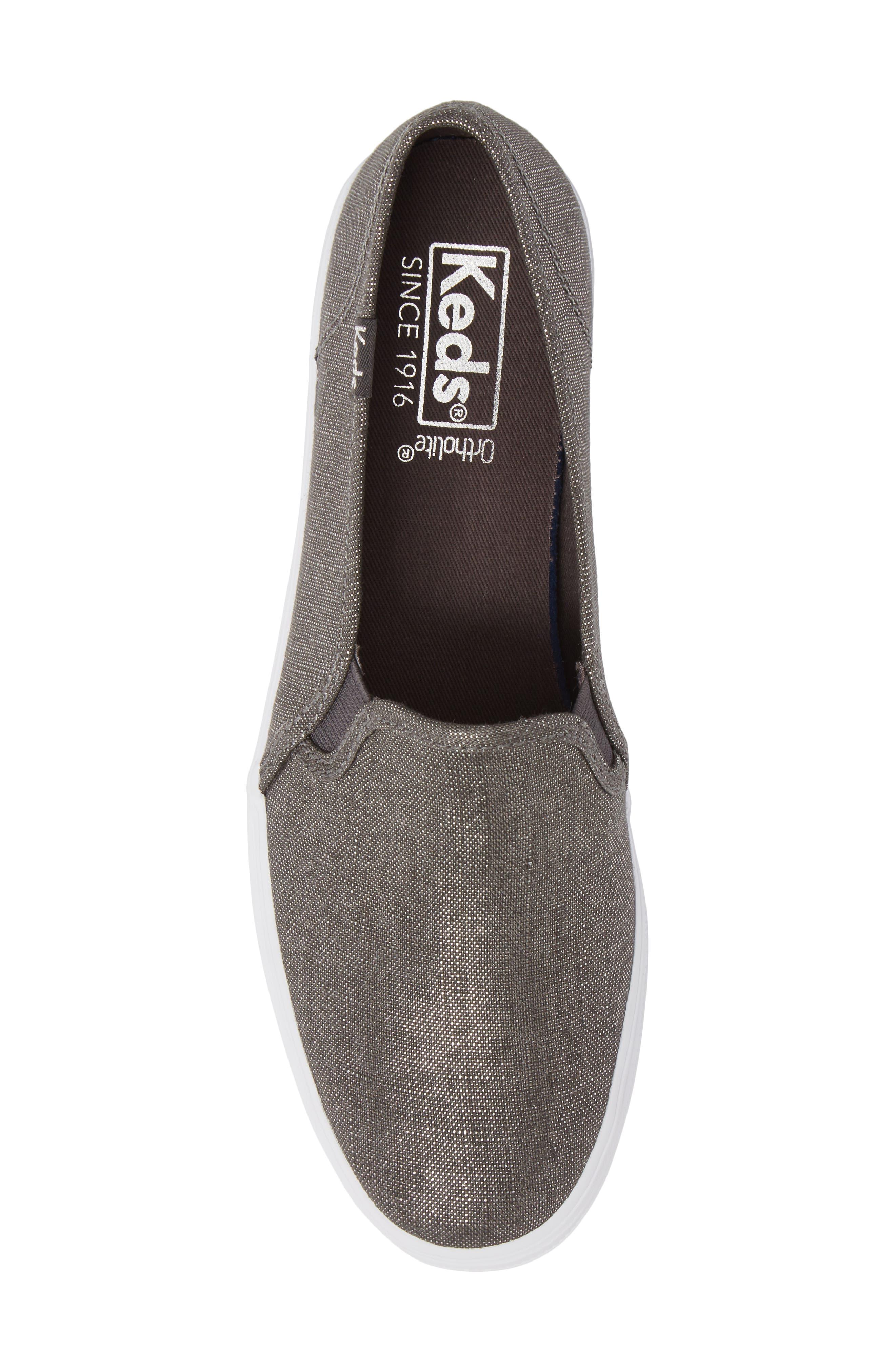 Triple Decker Metallic Linen Slip-On Sneaker,                             Alternate thumbnail 10, color,