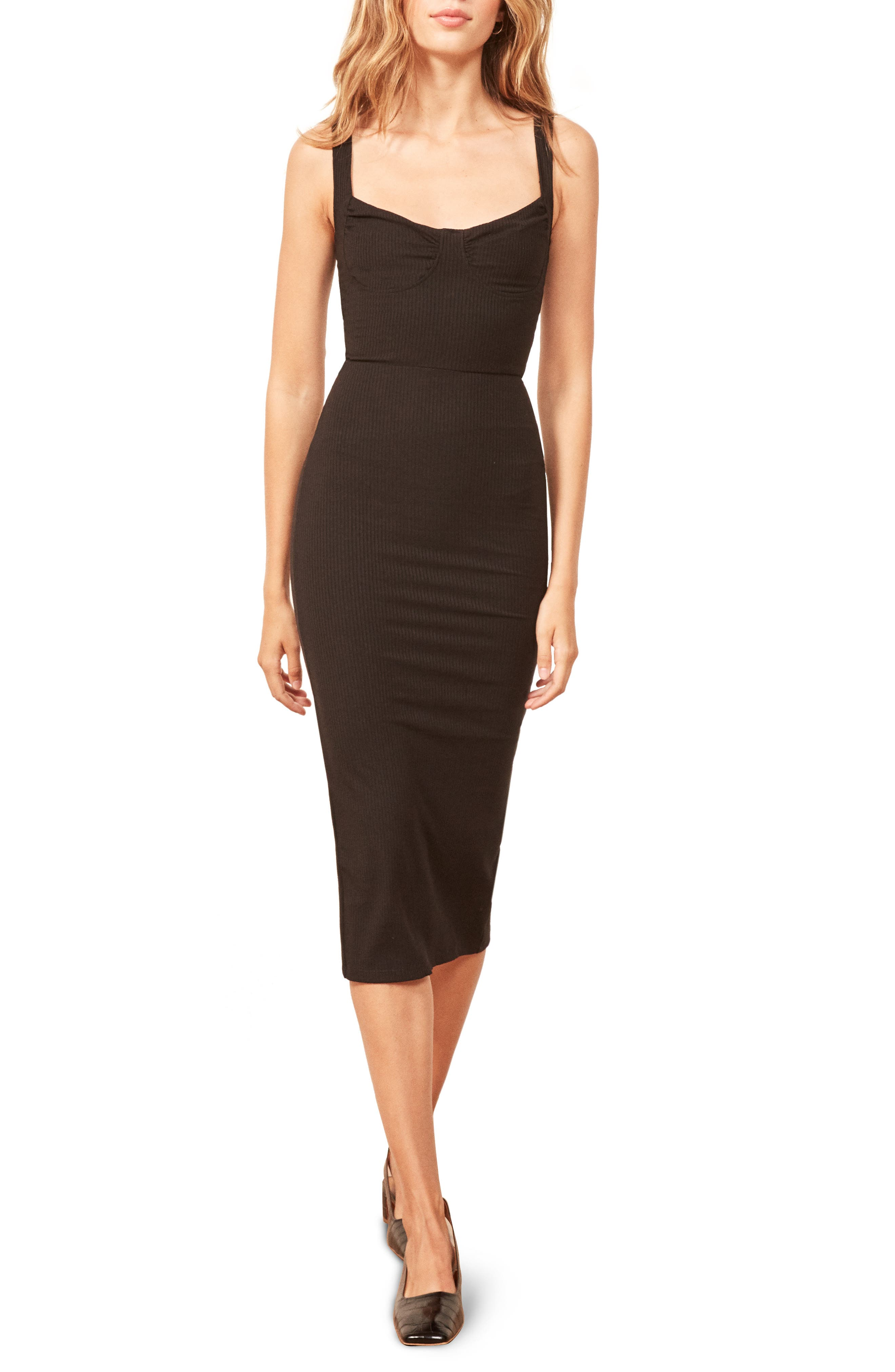 REFORMATION Adrian Sweetheart Neck Body-Con Dress, Main, color, 001