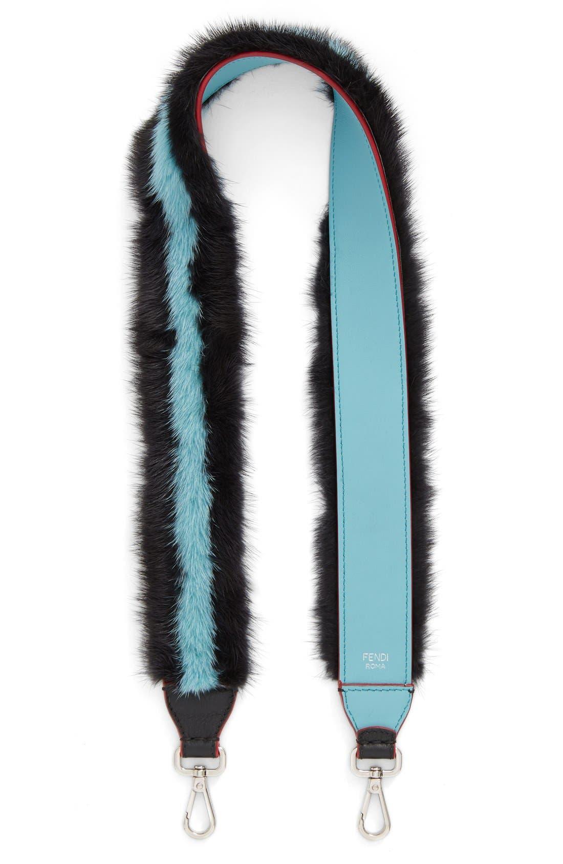 Genuine Mink Fur Stripe Guitar Bag Strap,                         Main,                         color, GRANITE/ TOURMALINE/ LAGOON