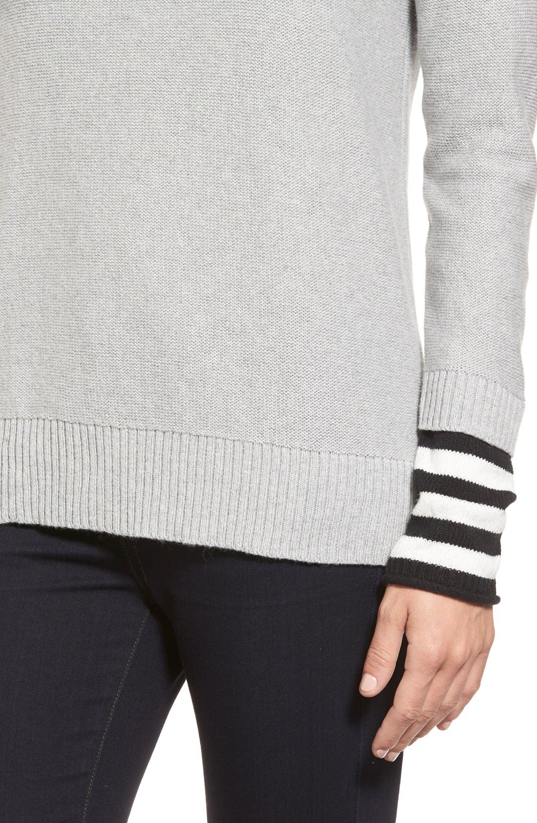 Contrast Cuff Crewneck Sweater,                             Alternate thumbnail 9, color,                             030