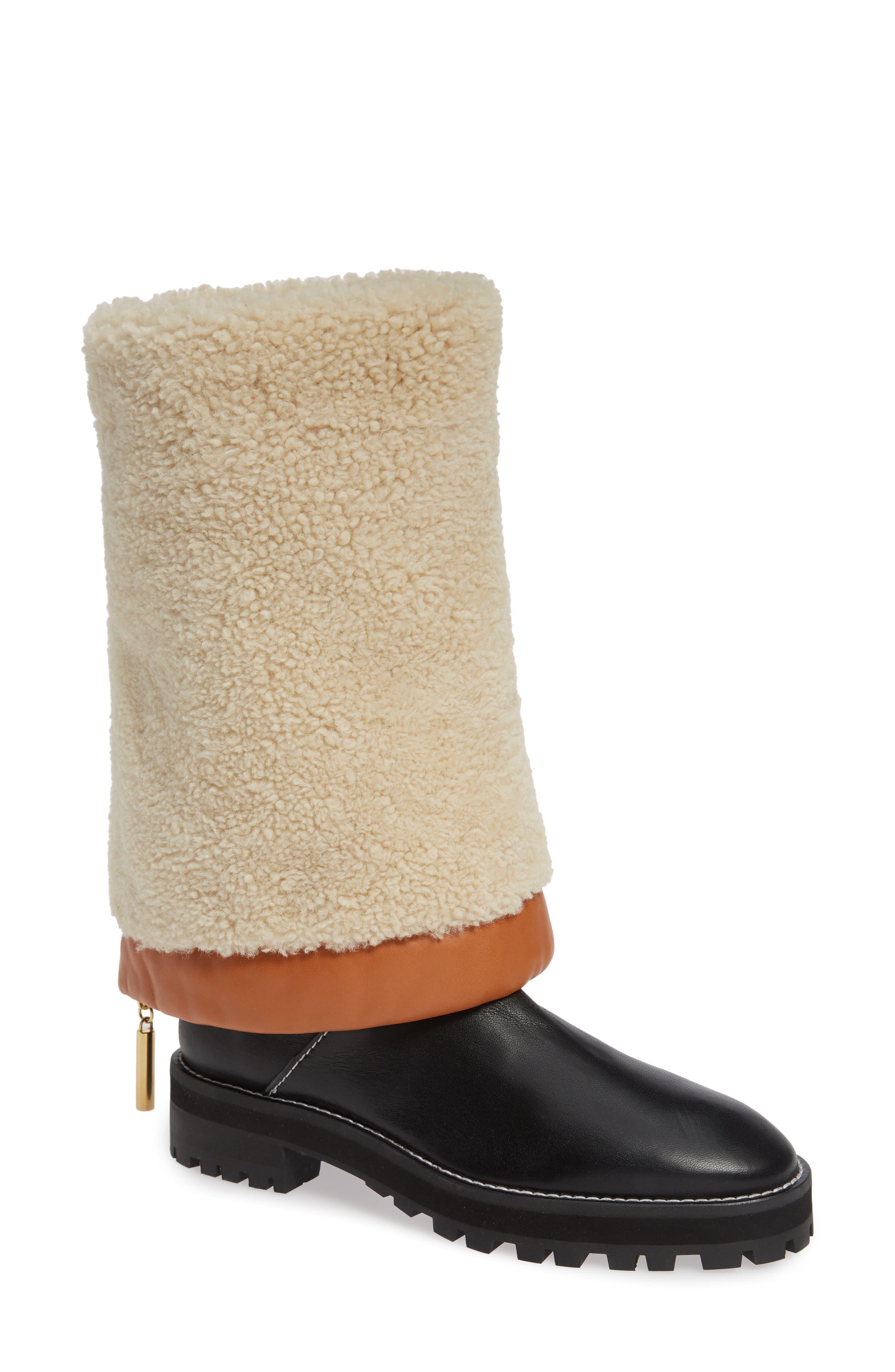 Renata Genuine Shearling Boot,                             Main thumbnail 1, color,                             BLACK ANDORRA