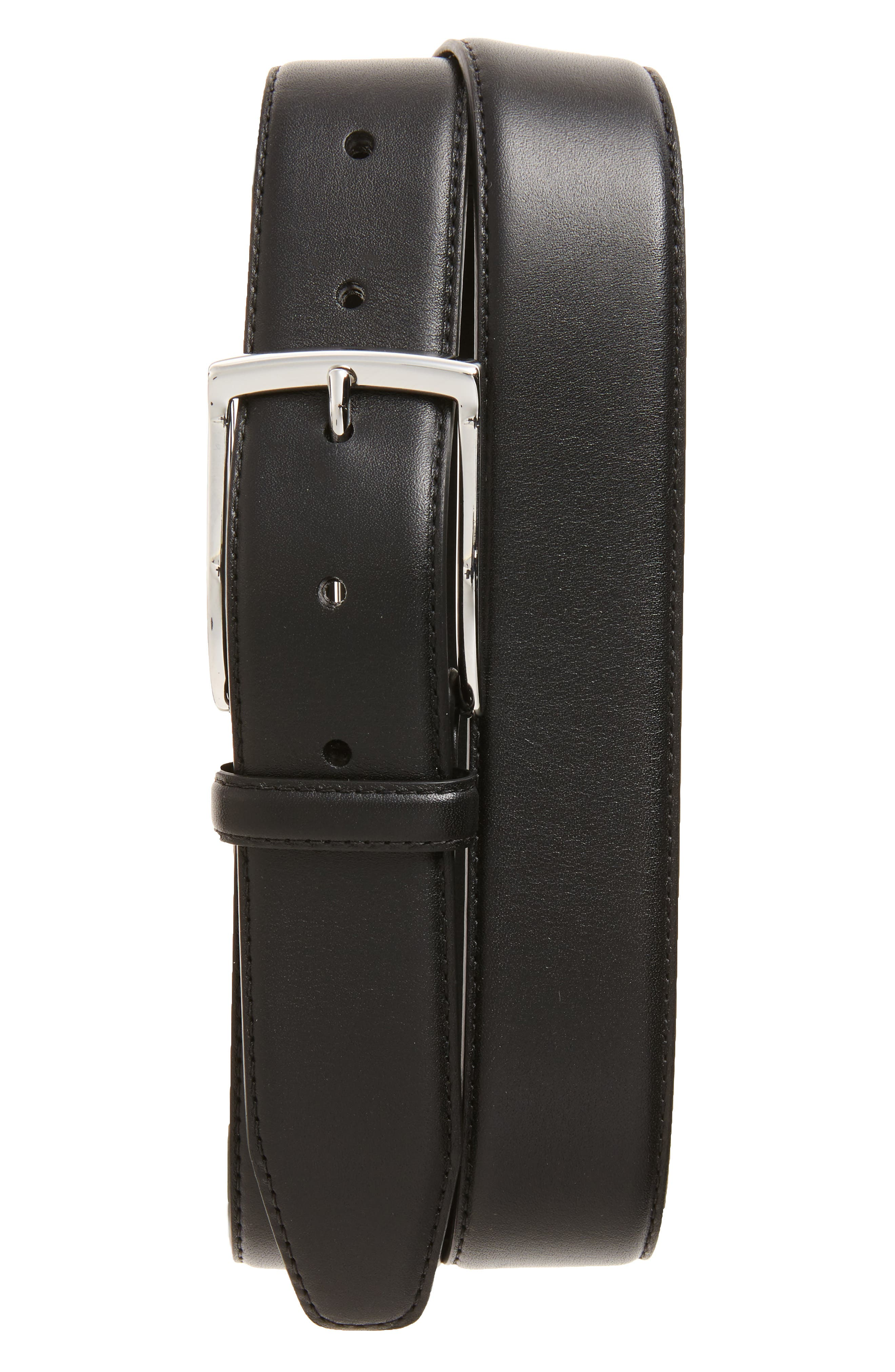 Nappa Leather Belt,                         Main,                         color, 001