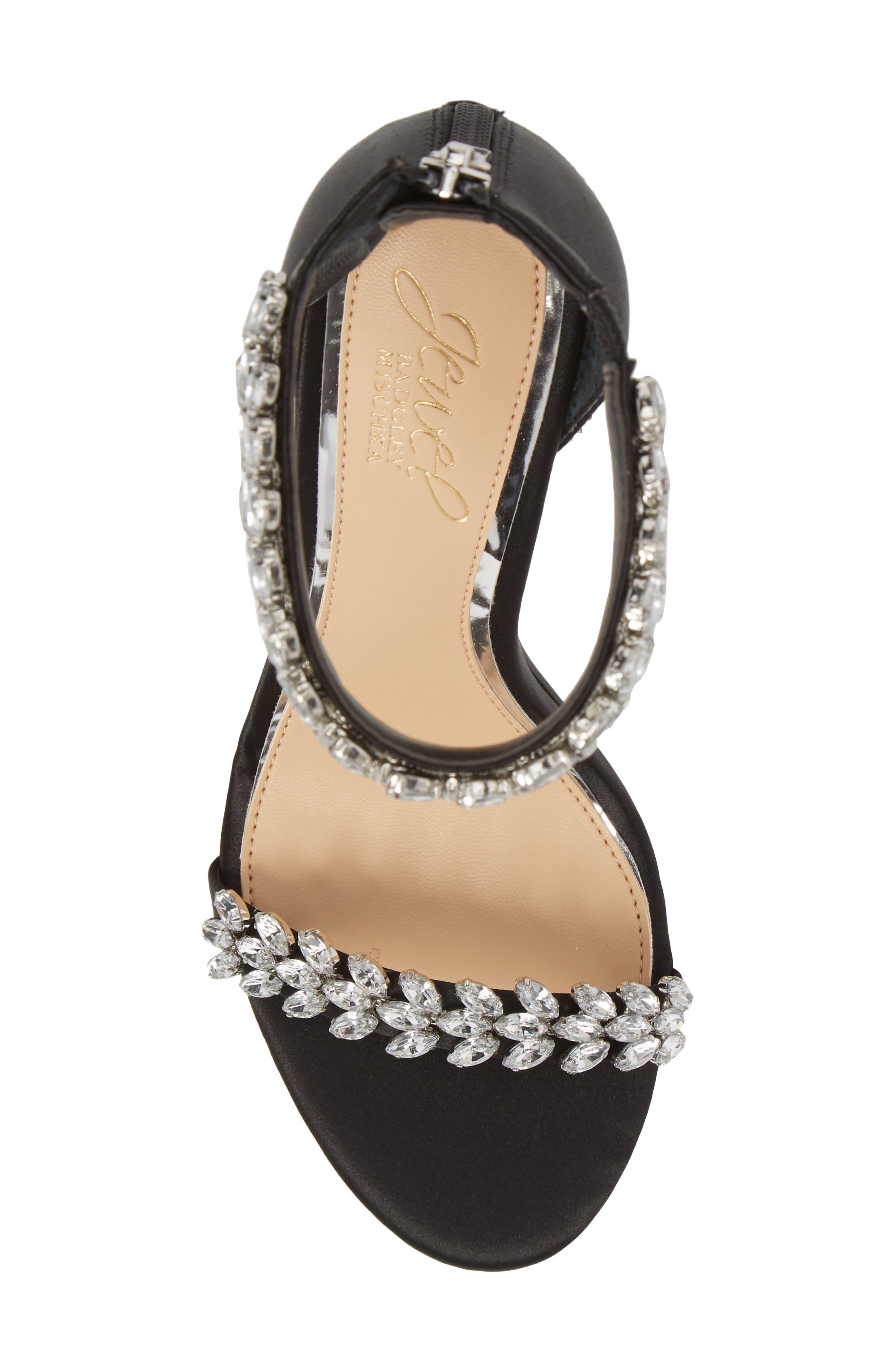 JEWEL BADGLEY MISCHKA,                             Jewel by Badgley Mischka Mayra Embellished Ankle Strap Sandal,                             Alternate thumbnail 5, color,                             BLACK SATIN