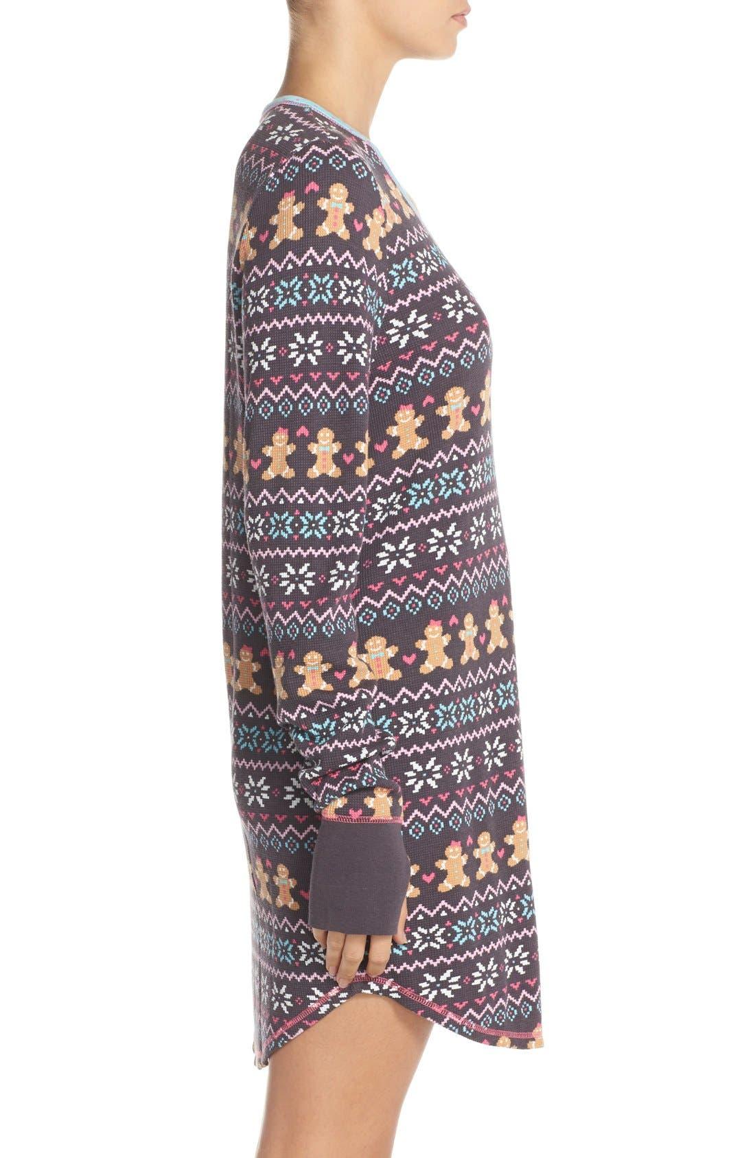 Thermal Knit Sleep Shirt,                             Alternate thumbnail 3, color,                             011