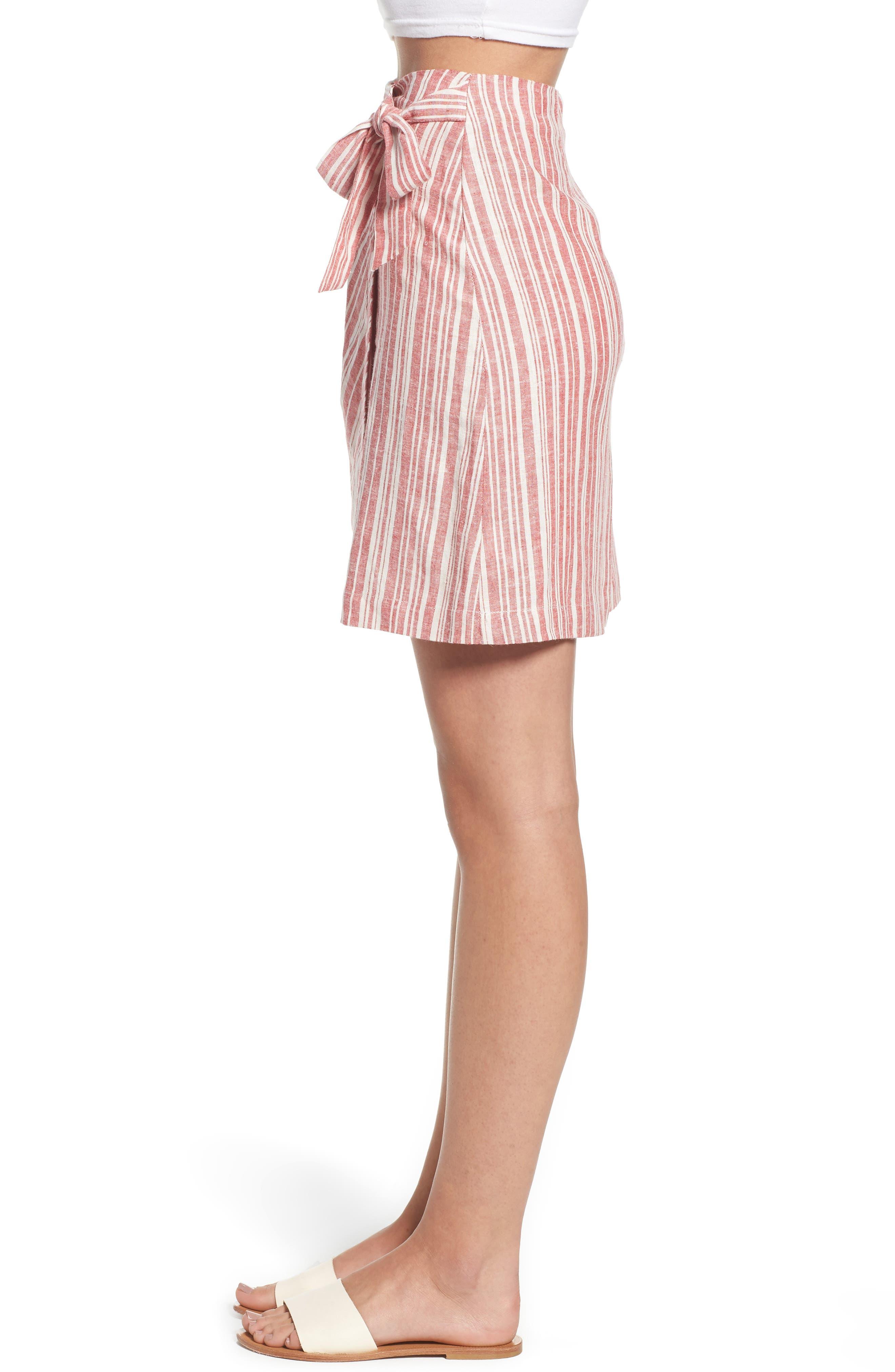 Stripe Linen Blend Wrap Skirt,                             Alternate thumbnail 3, color,                             610