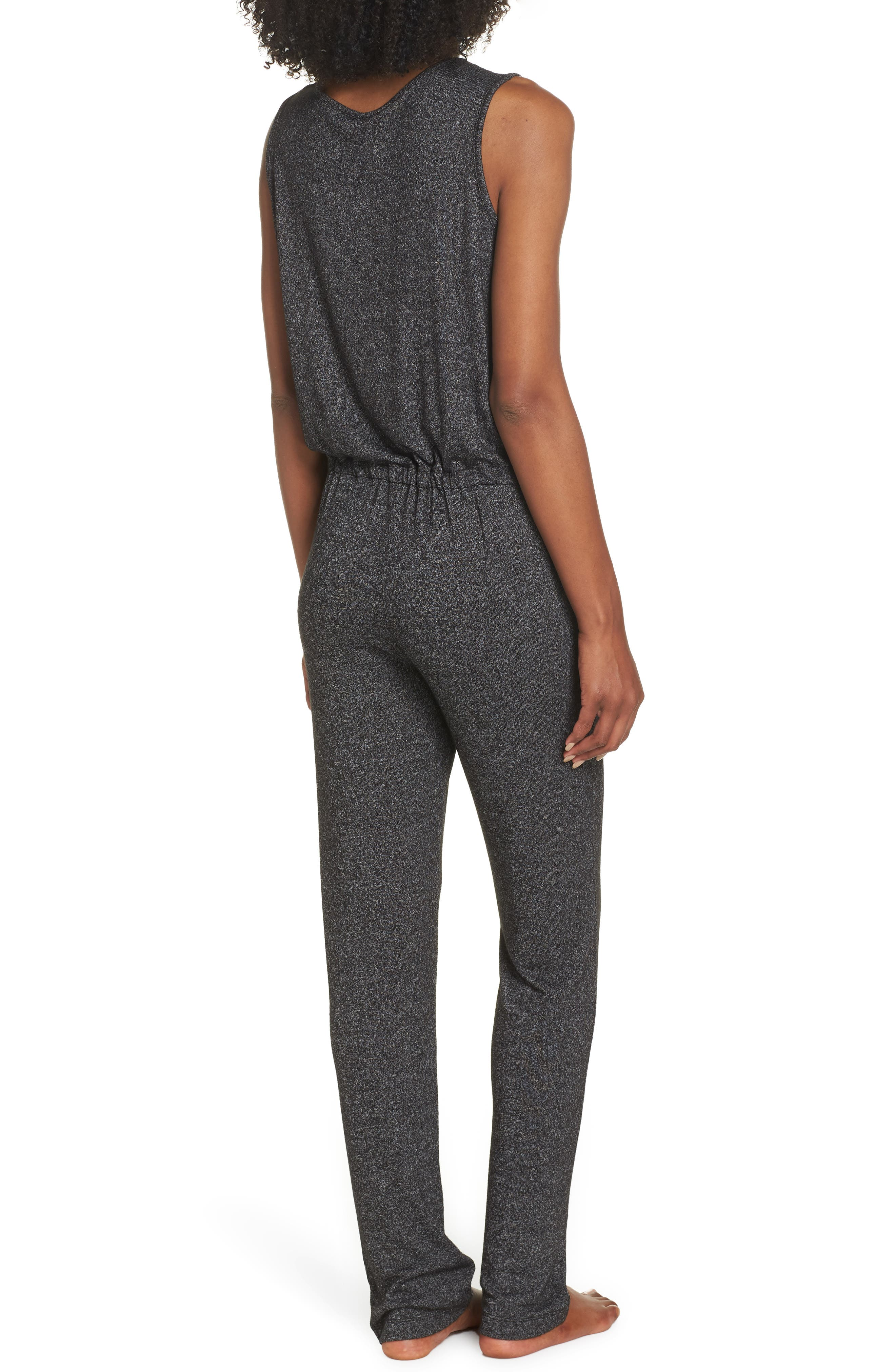 Charlize Lounge Jumpsuit,                             Alternate thumbnail 2, color,                             BLACK