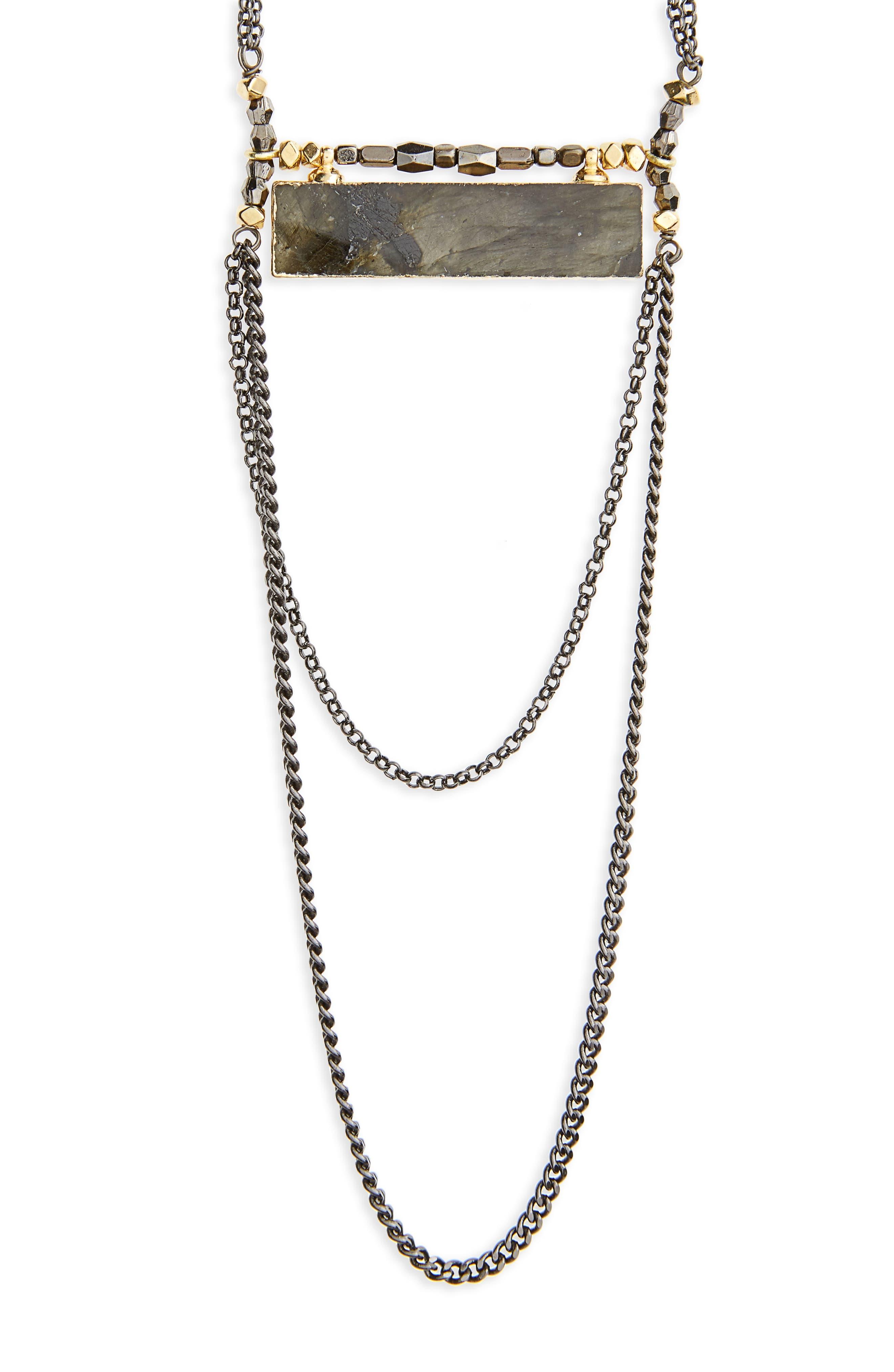Labradorite Rectangle Necklace,                             Alternate thumbnail 2, color,