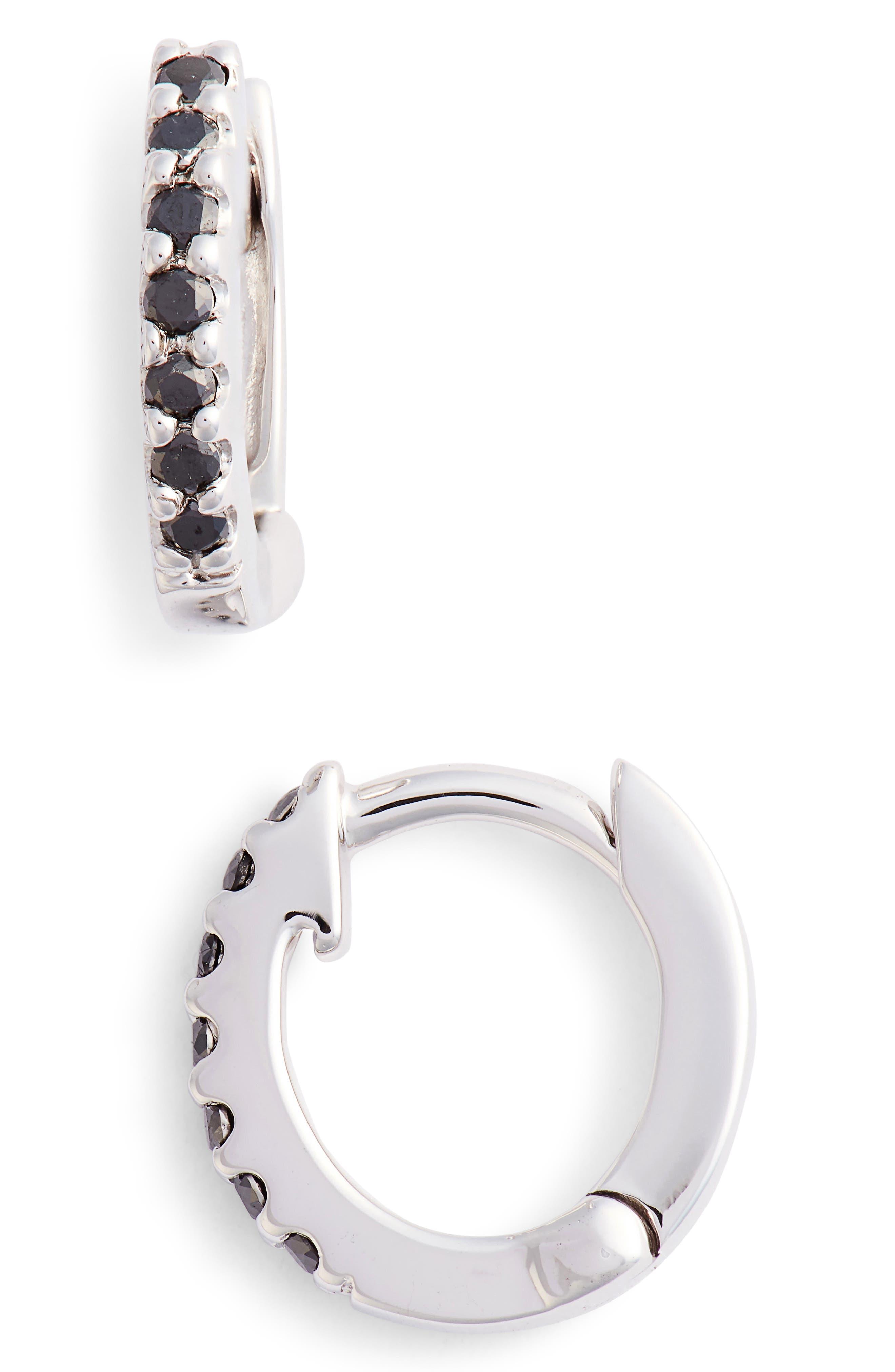 Mini Black Diamond Earrings,                             Main thumbnail 2, color,
