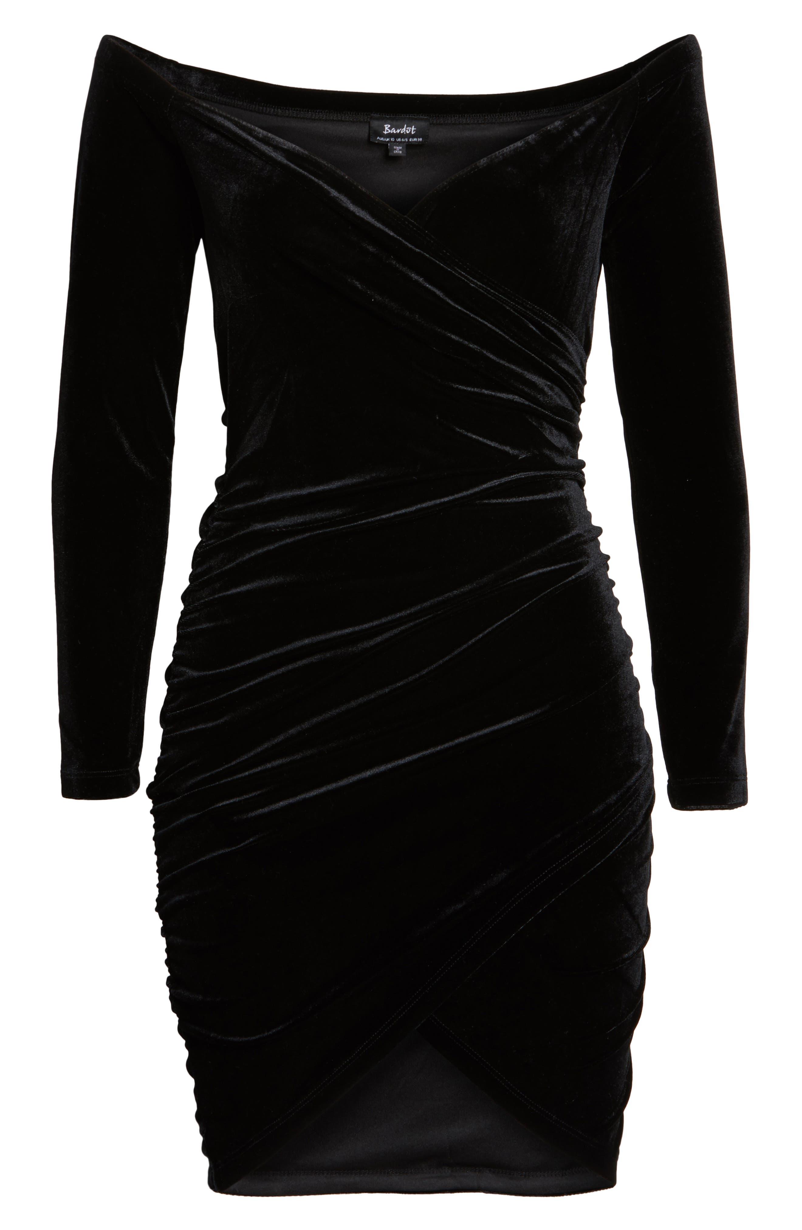 Alex Off the Shoulder Velvet Body-Con Dress,                             Alternate thumbnail 6, color,                             001