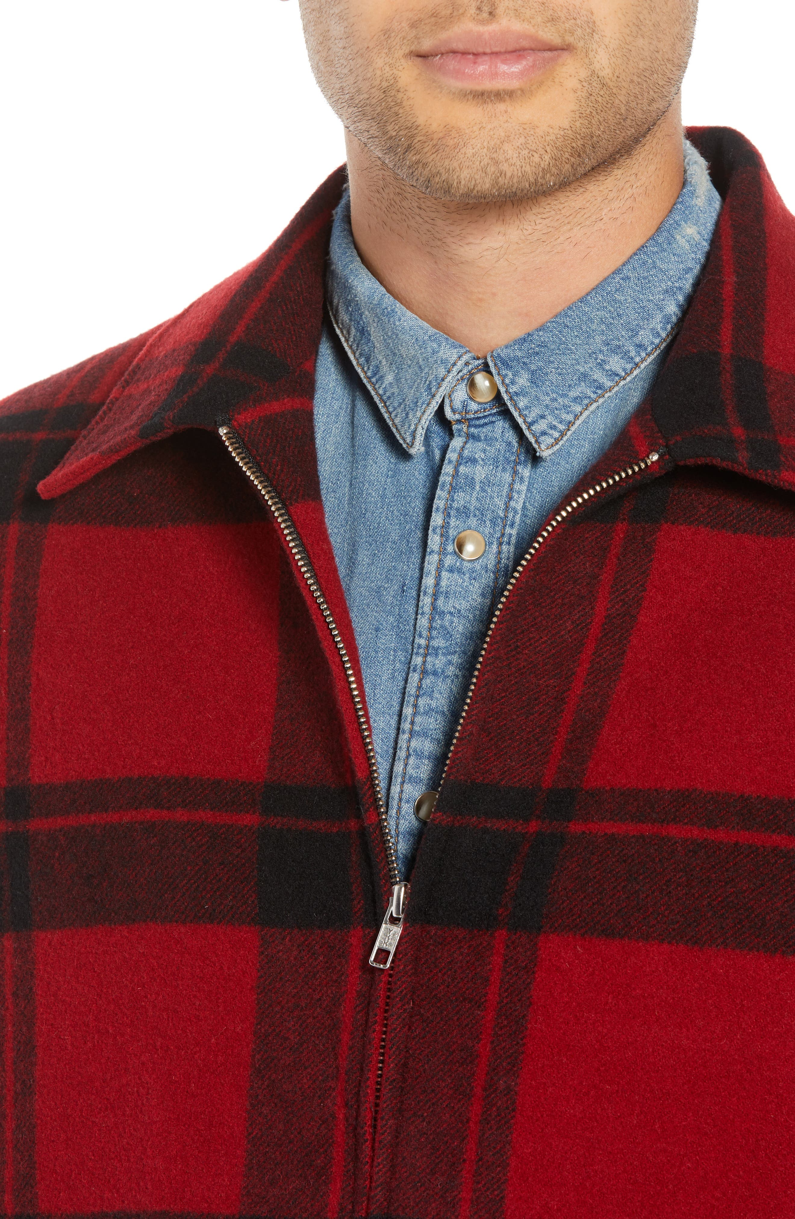 Classic Fit Plaid Wool Trapper Jacket,                             Alternate thumbnail 4, color,                             RED/ BLACK
