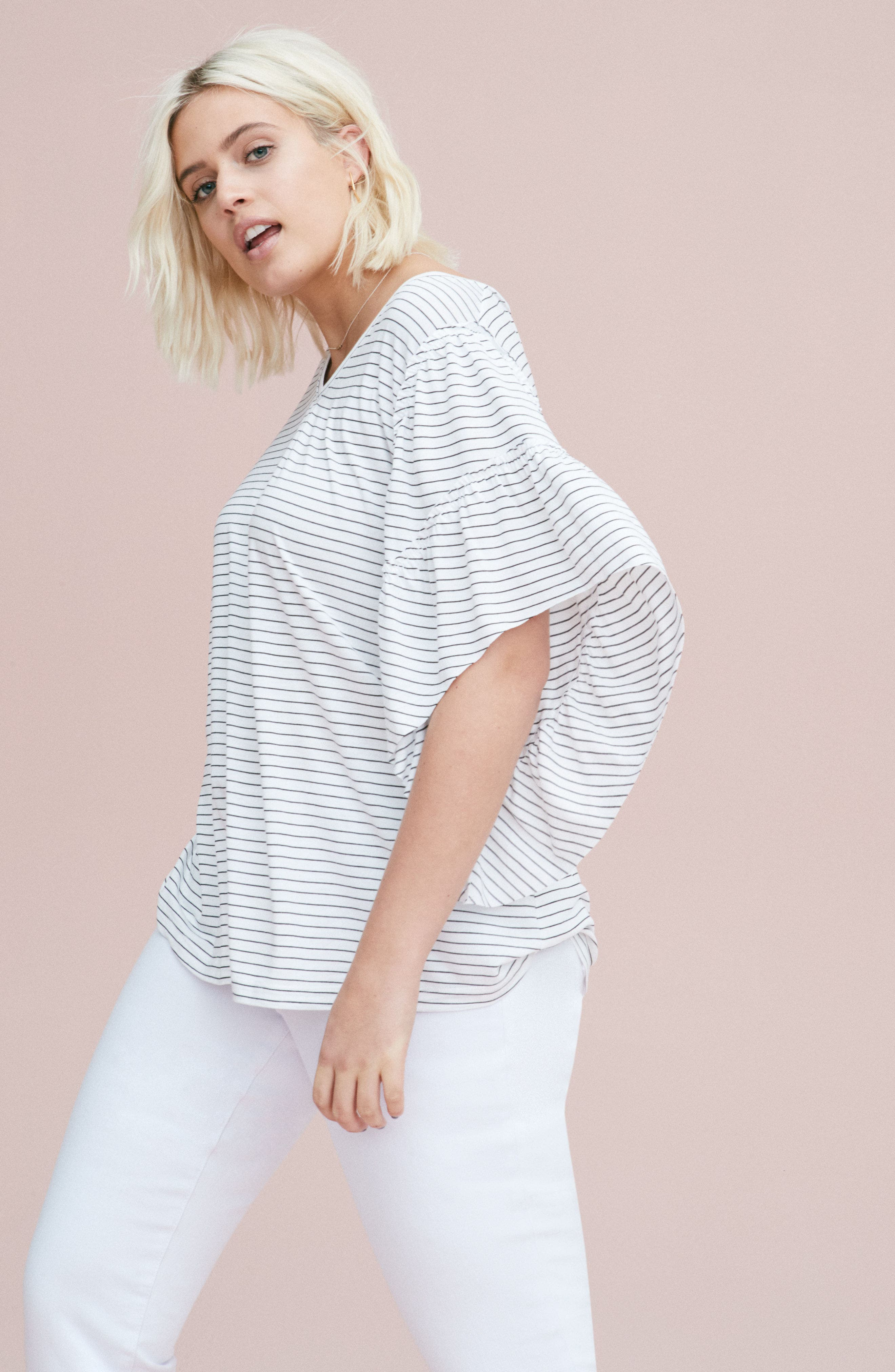Frill Sleeve Tee,                             Alternate thumbnail 8, color,                             030
