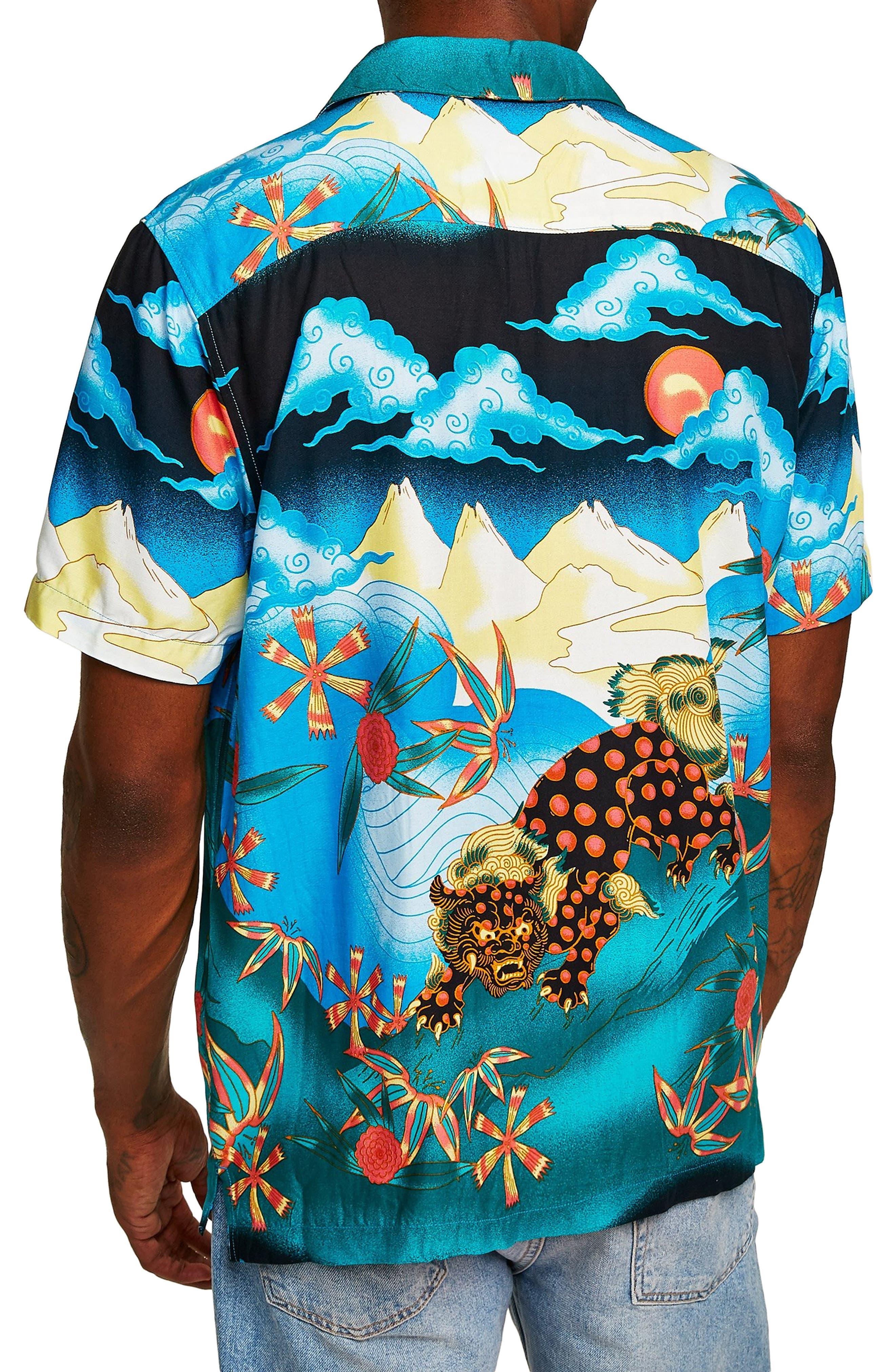 Foo Dog Classic Fit Shirt,                             Alternate thumbnail 3, color,                             BLUE MULTI