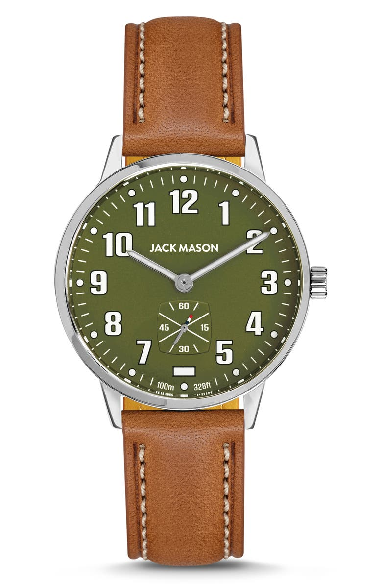 Jack Mason Field Leather Strap Watch, 38mm | Nordstrom