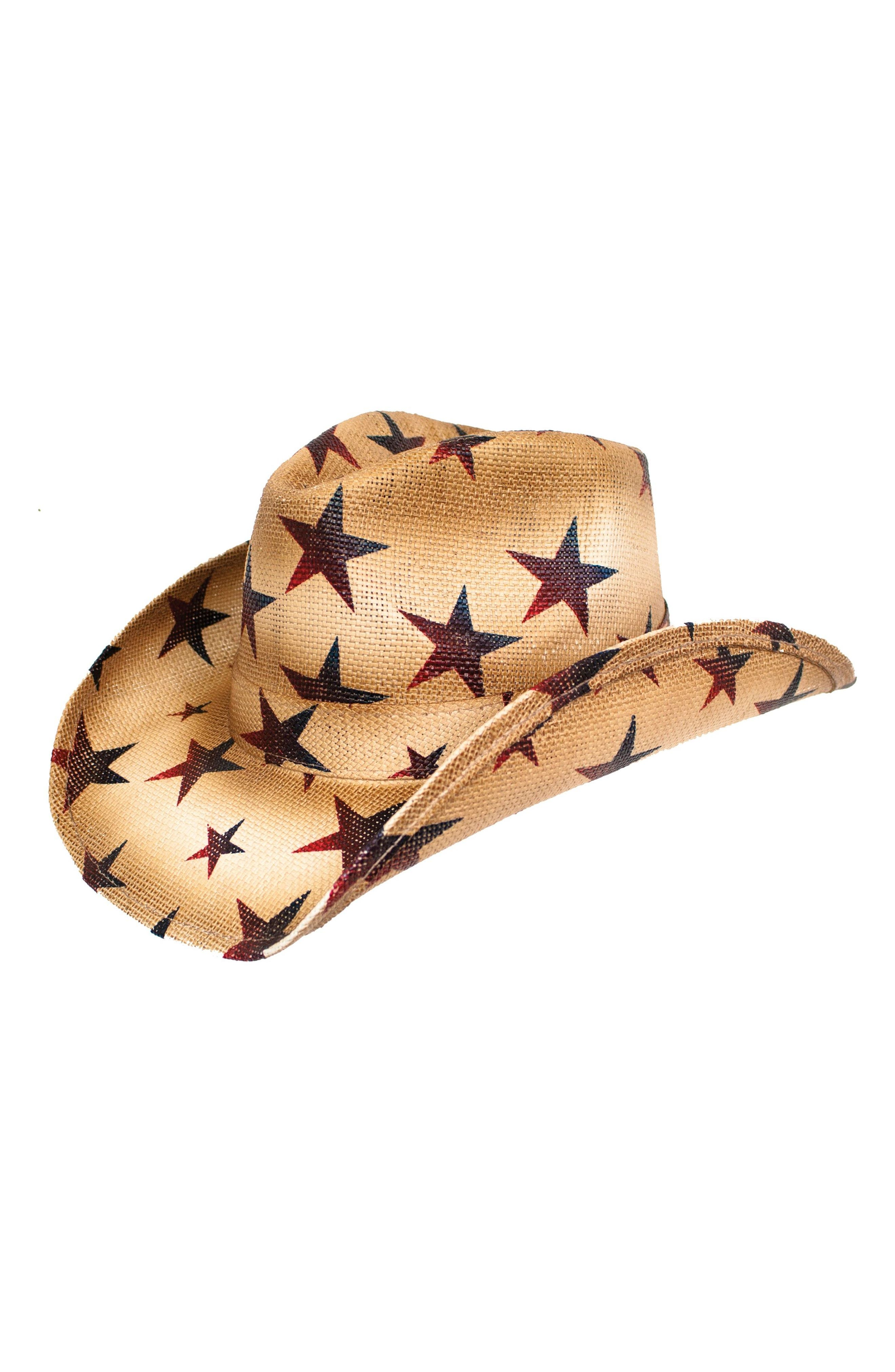 Star Straw Cowboy Hat,                         Main,                         color, TEA STAIN