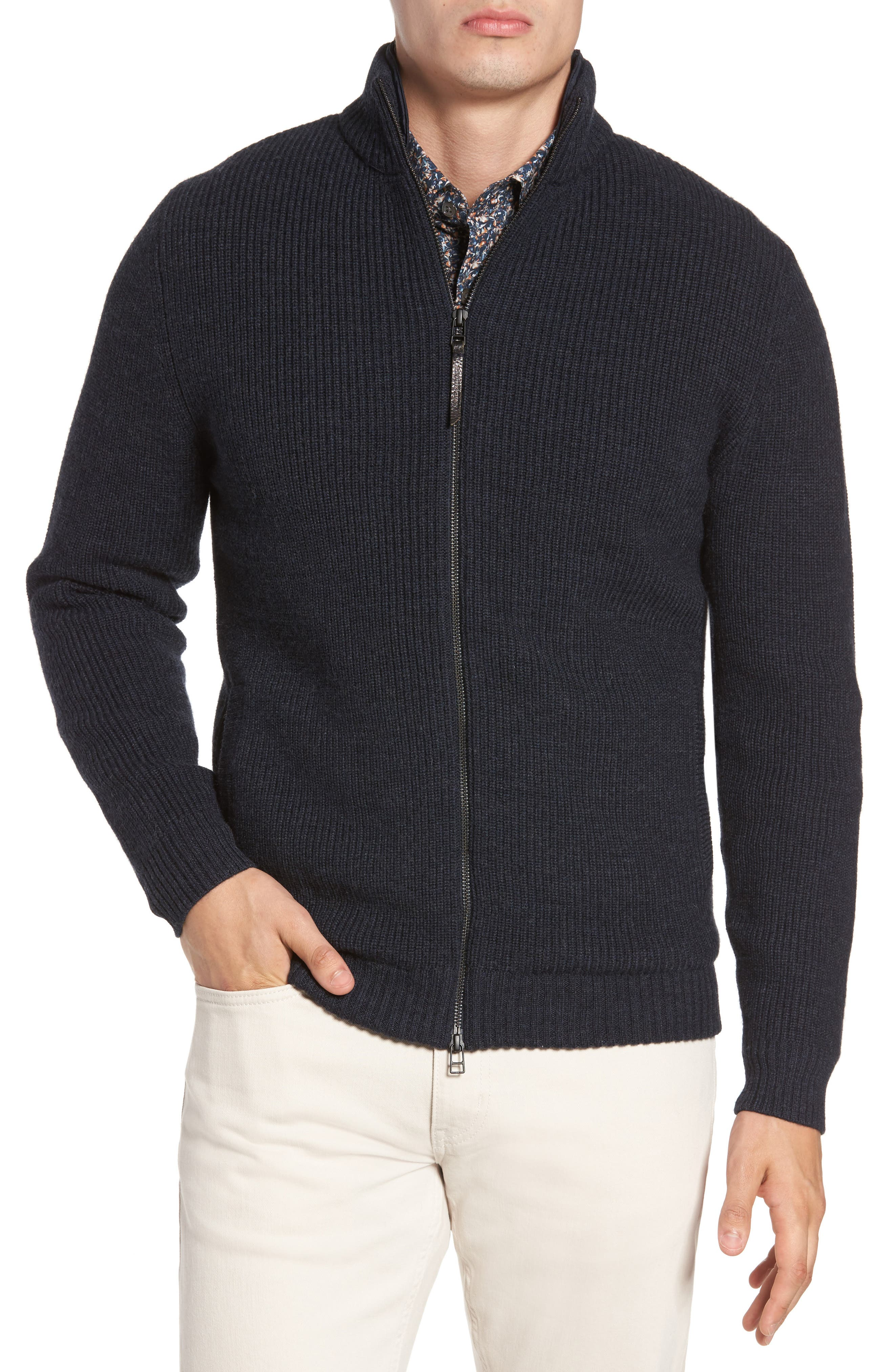 Camerons Track Zip Wool Sweater,                         Main,                         color, MIDNIGHT