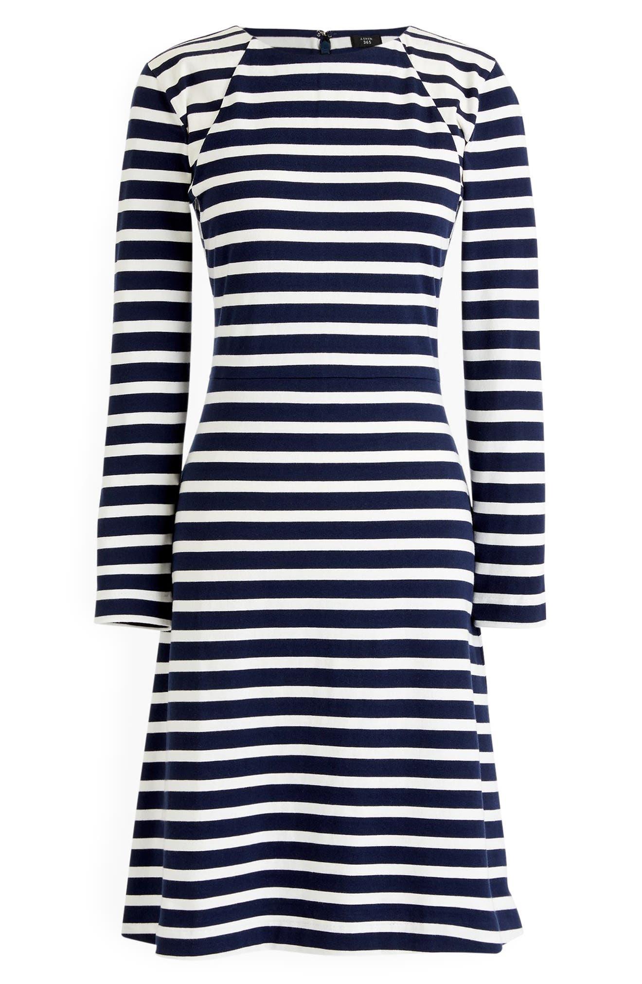 365 Stripe Knit Fit & Flare Dress,                             Alternate thumbnail 6, color,                             400